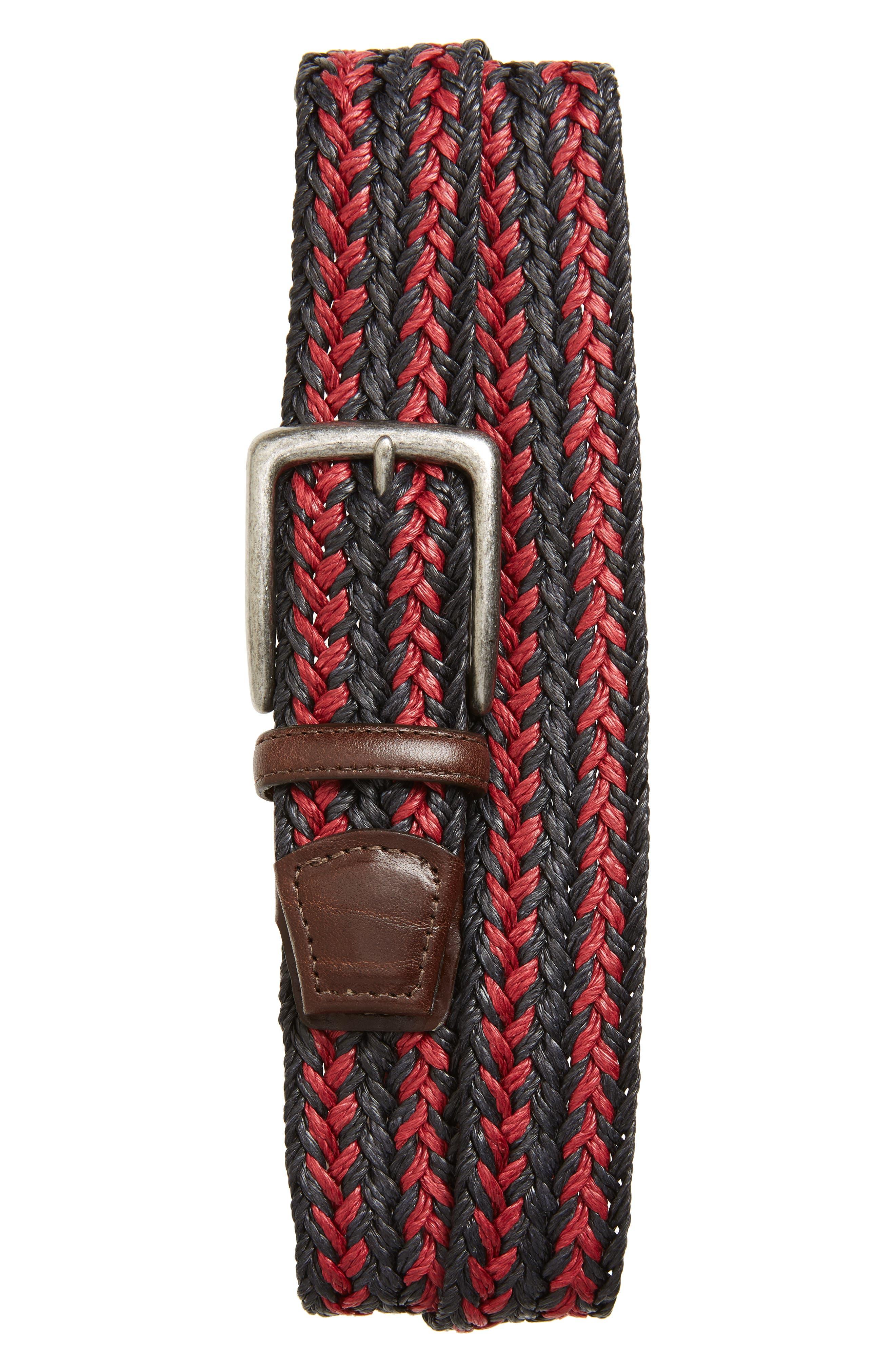 Torino Woven Linen Belt, Navy/ Red