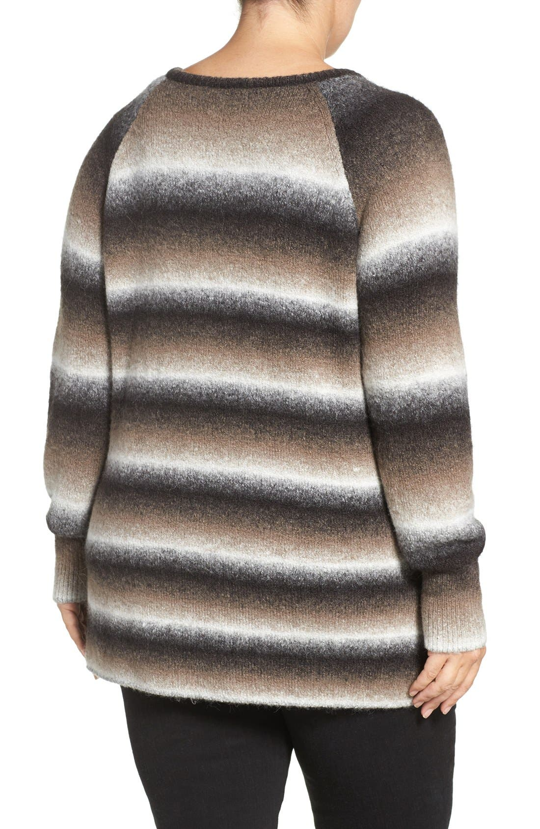 'Bary' Ombré Stripe V-Neck Sweater,                             Alternate thumbnail 2, color,                             DARK OMBRE