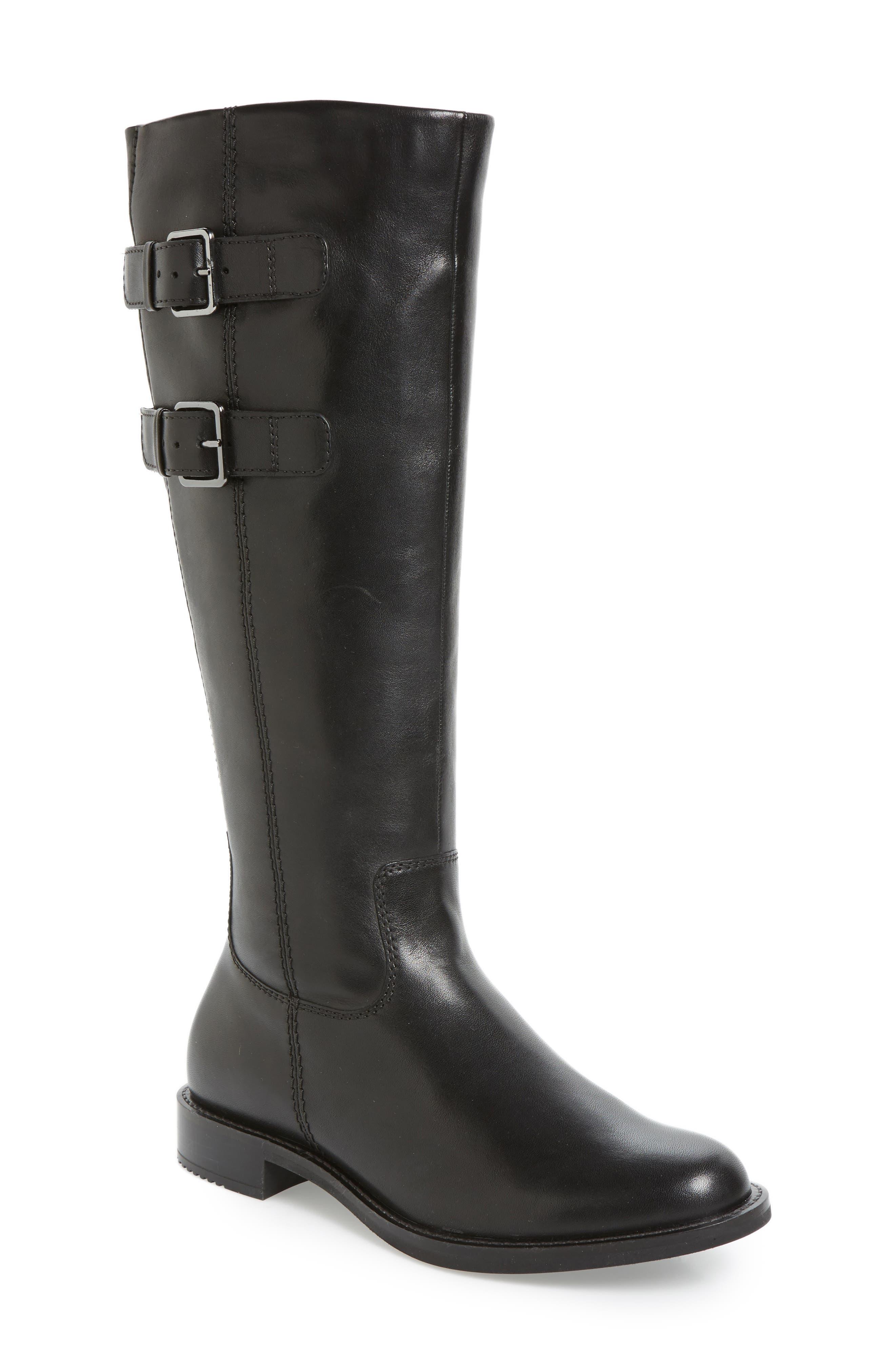 Ecco Shape 25 Tall Buckle Boot, Black