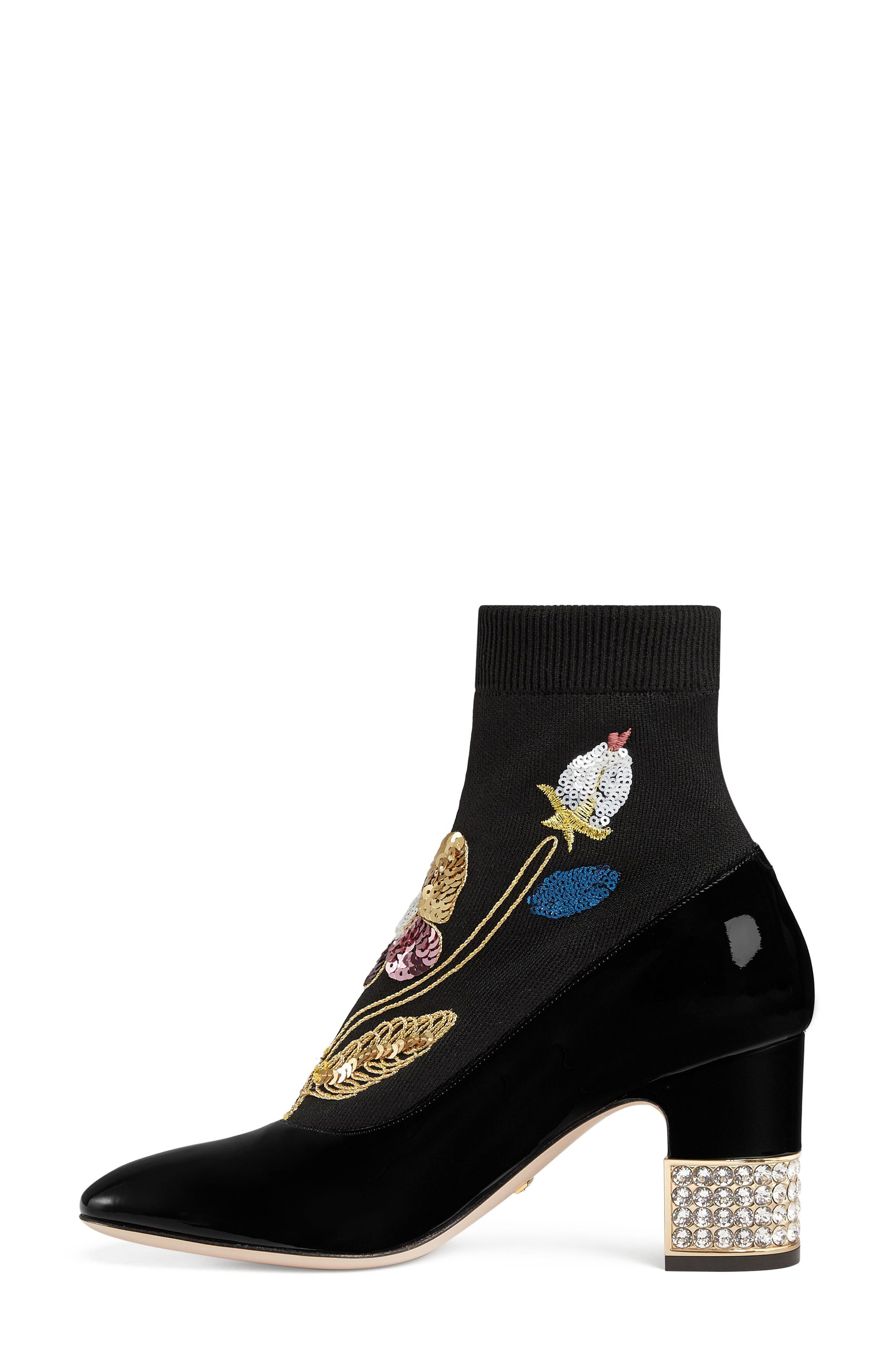 Candy Floral Embroidered Bootie,                             Alternate thumbnail 3, color,                             BLACK