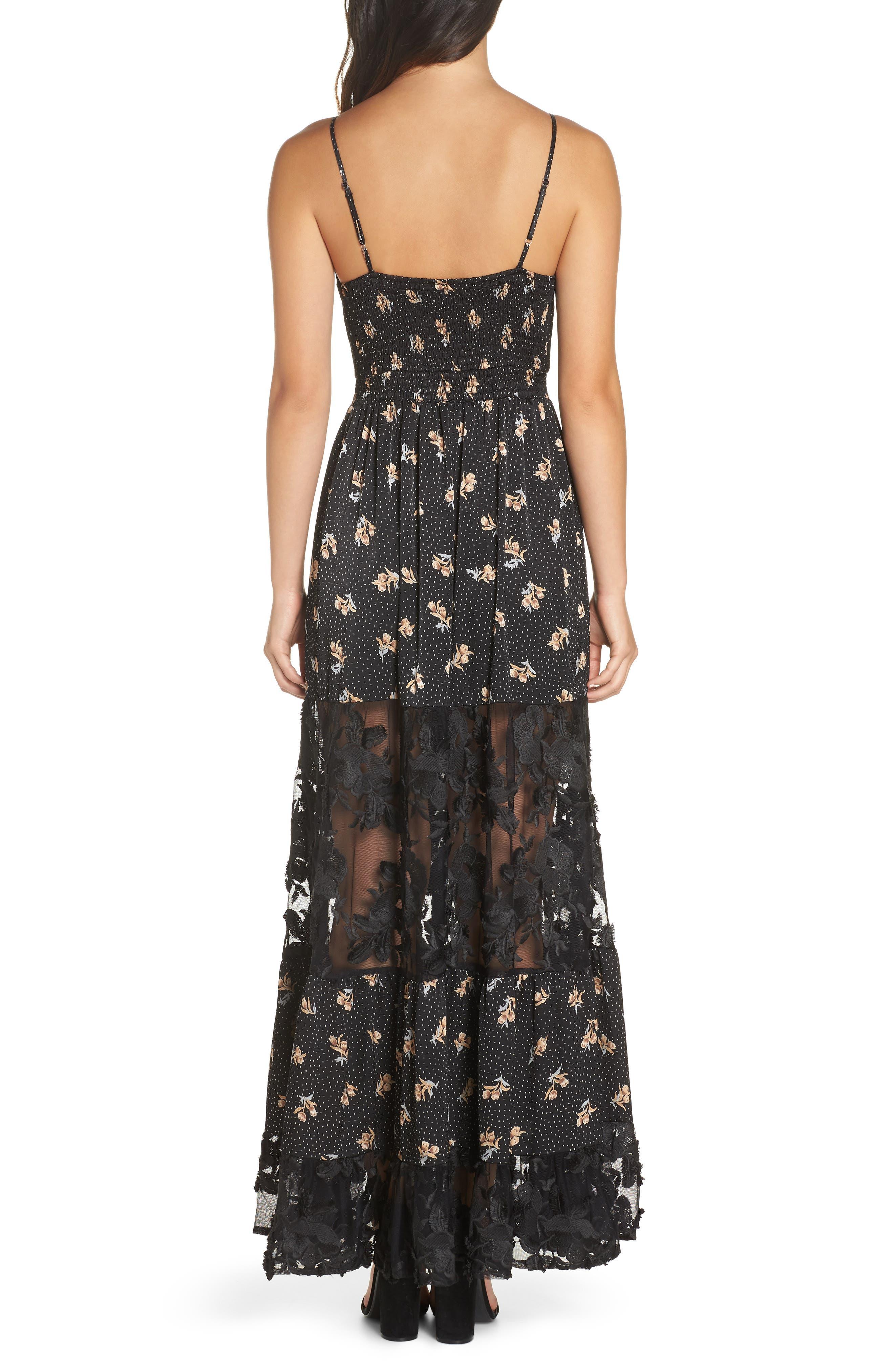 Lace Panel Maxi Dress,                             Alternate thumbnail 2, color,                             BLACK FLORAL