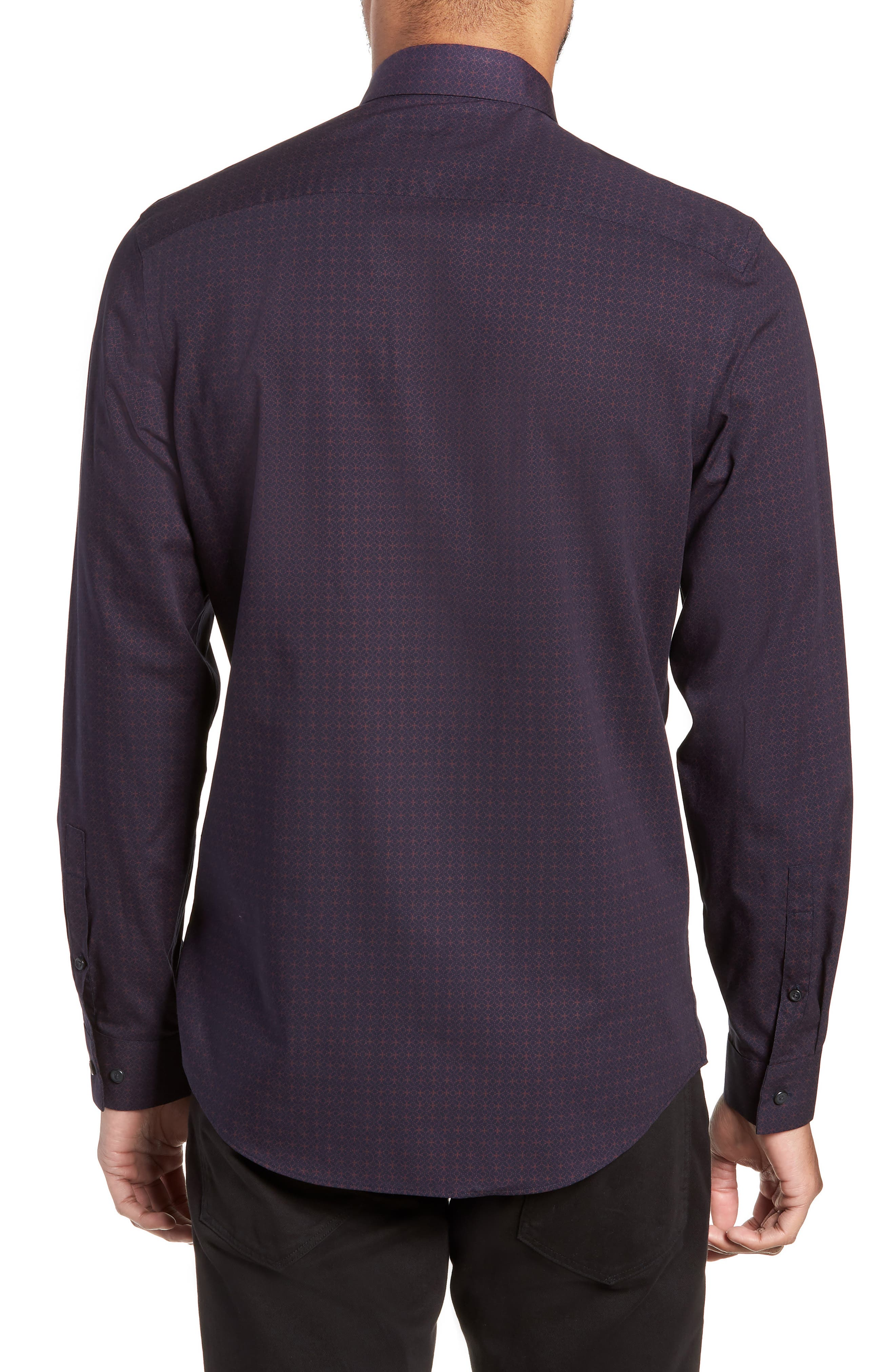 Slim Fit Print Non Iron Sport Shirt,                             Alternate thumbnail 2, color,                             NAVY NIGHT BURGUNDY GEO