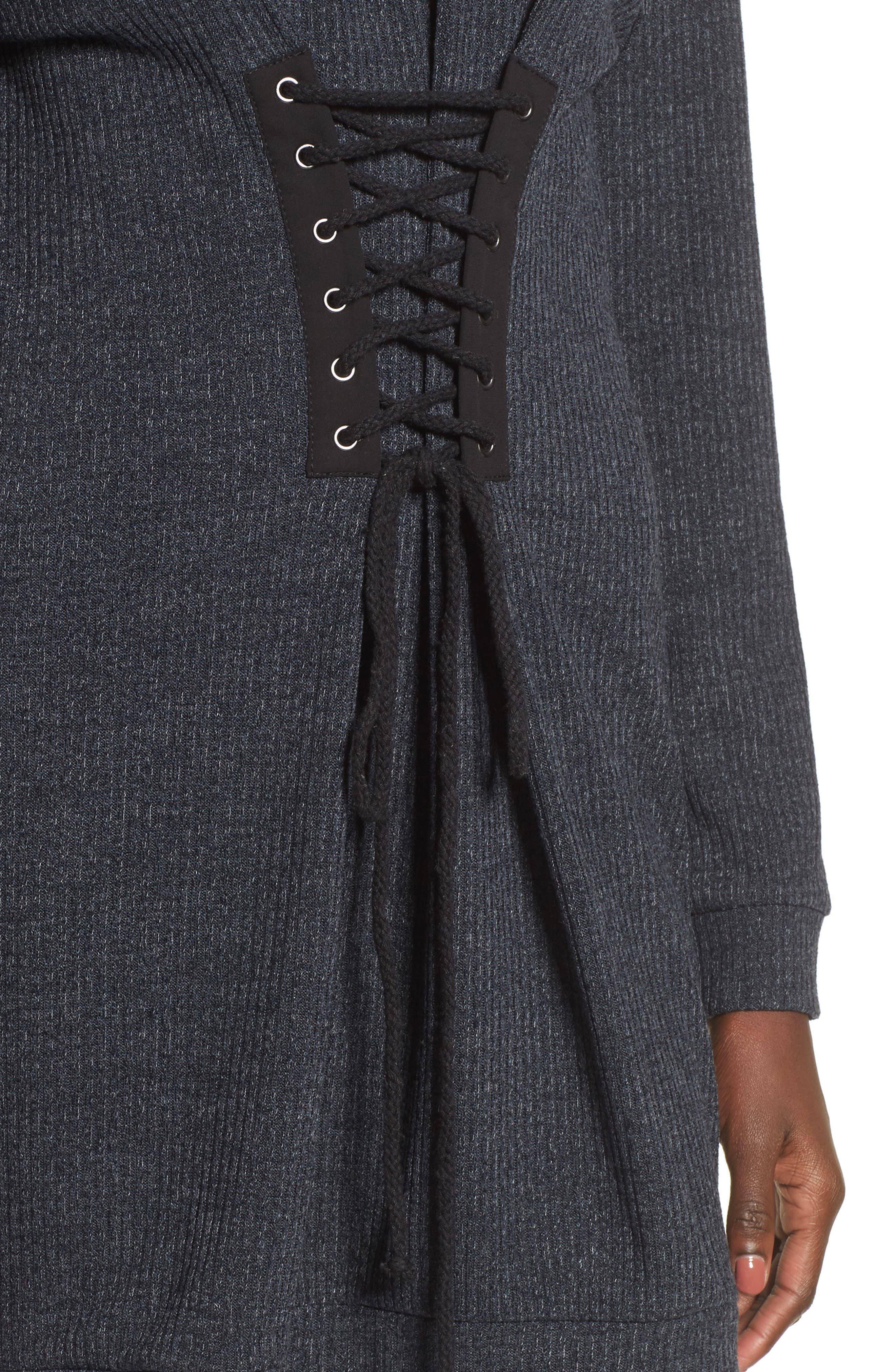 Corset Detail Sweatshirt Dress,                             Alternate thumbnail 4, color,                             020