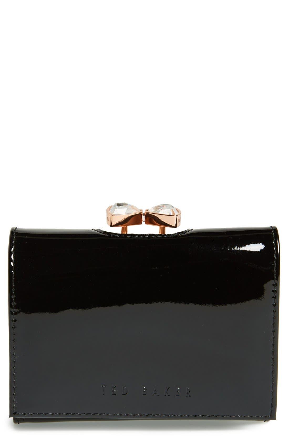 'Small Bow' Crystal Kiss Lock Wallet, Main, color, 002