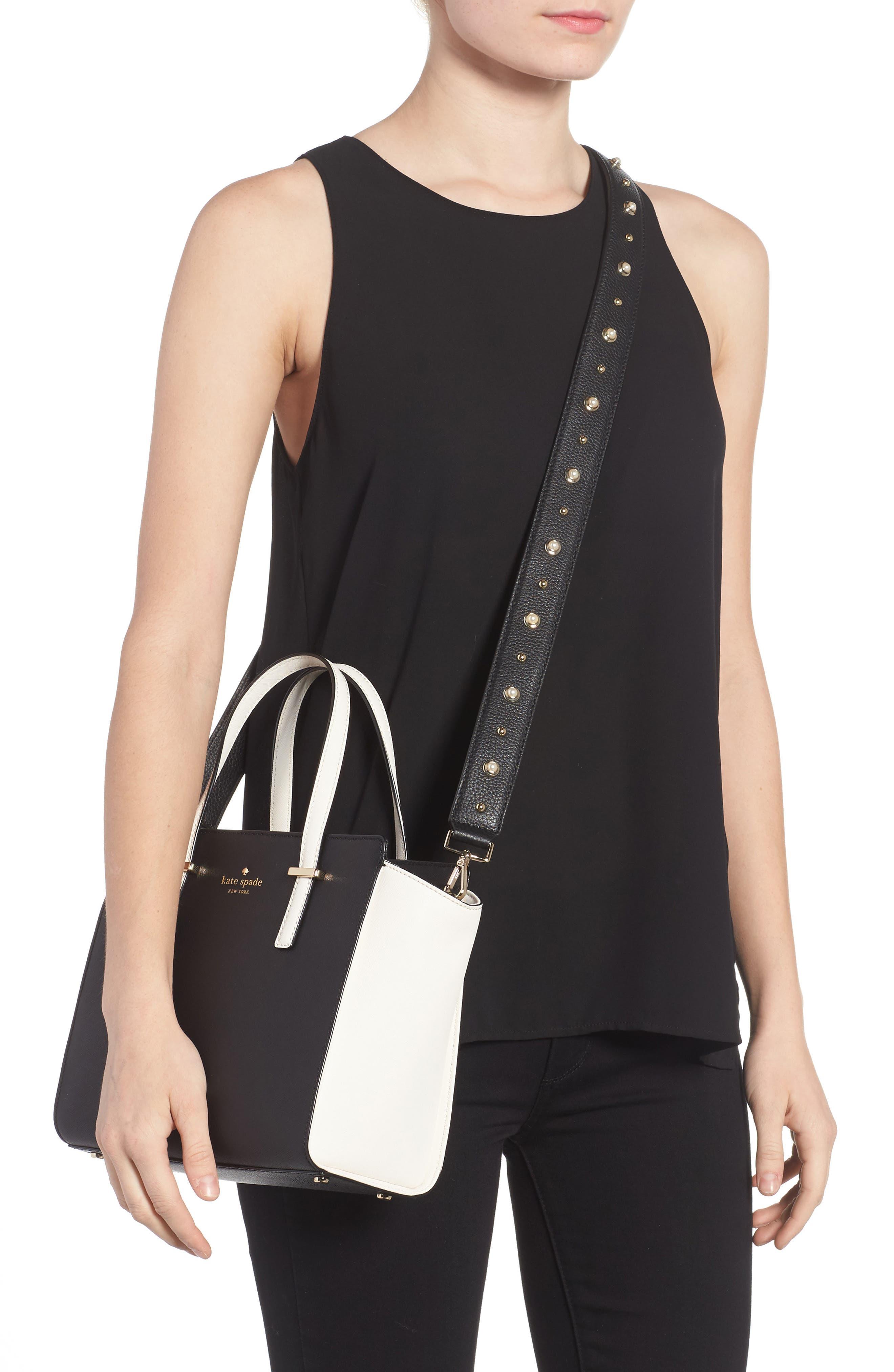 make it mine imitation pearl leather guitar bag strap & tassels,                             Alternate thumbnail 2, color,                             001