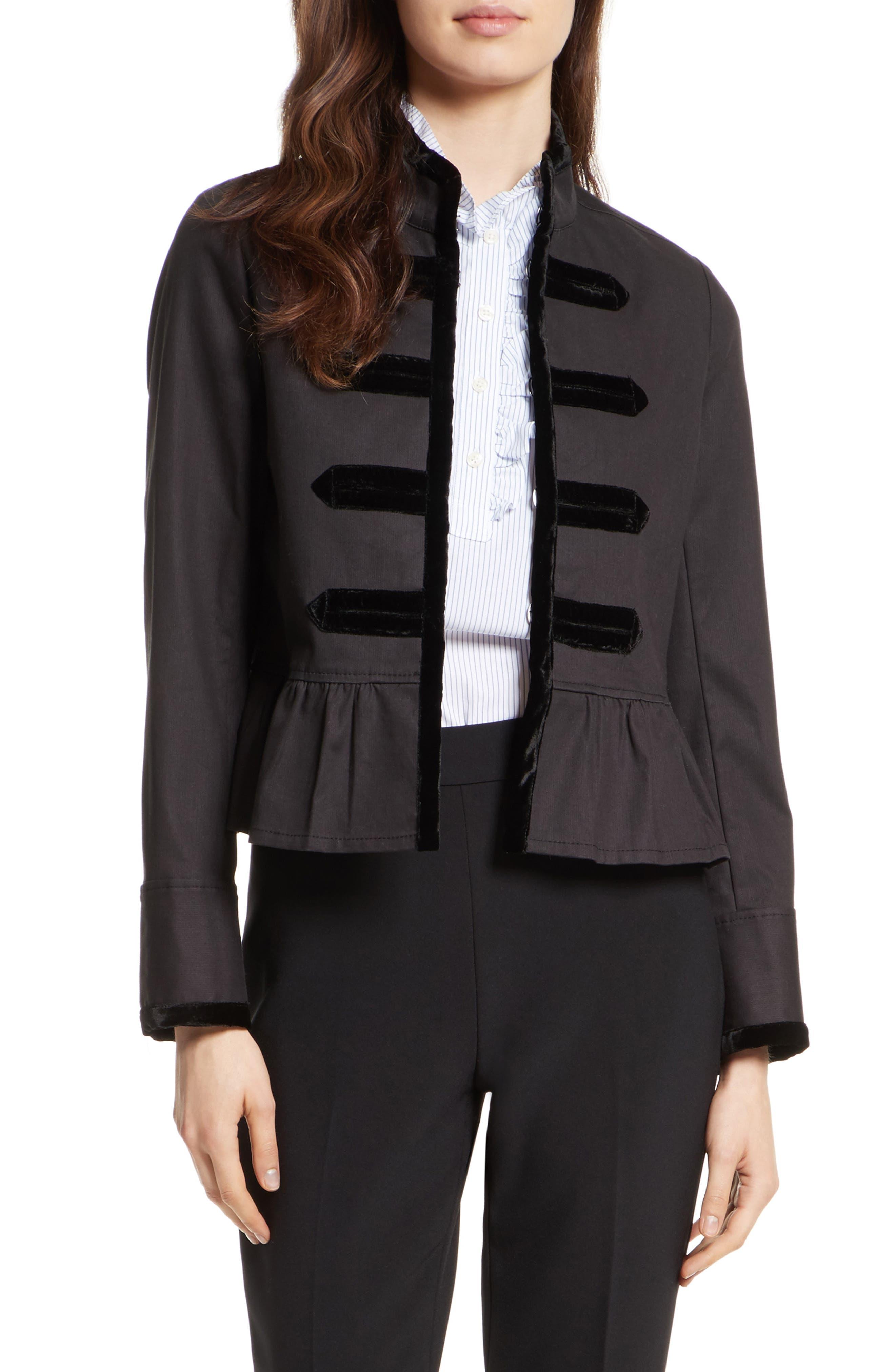 velvet trim military jacket,                             Main thumbnail 1, color,                             001