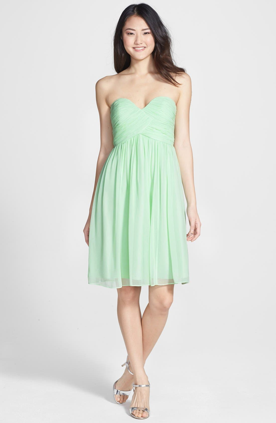 'Morgan' Strapless Silk Chiffon Dress,                             Main thumbnail 10, color,
