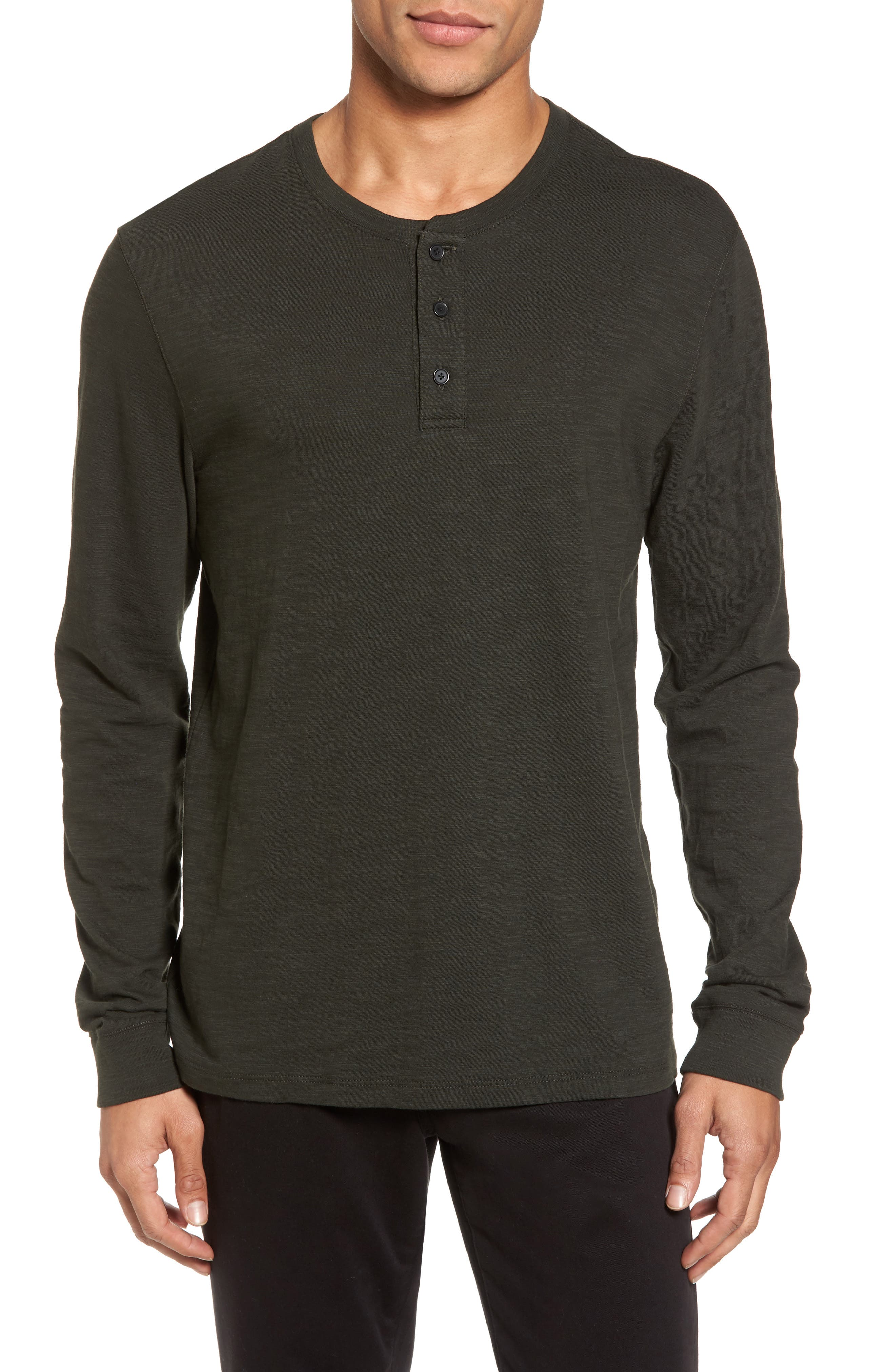 Long Sleeve Slub Henley,                         Main,                         color, CACTUS