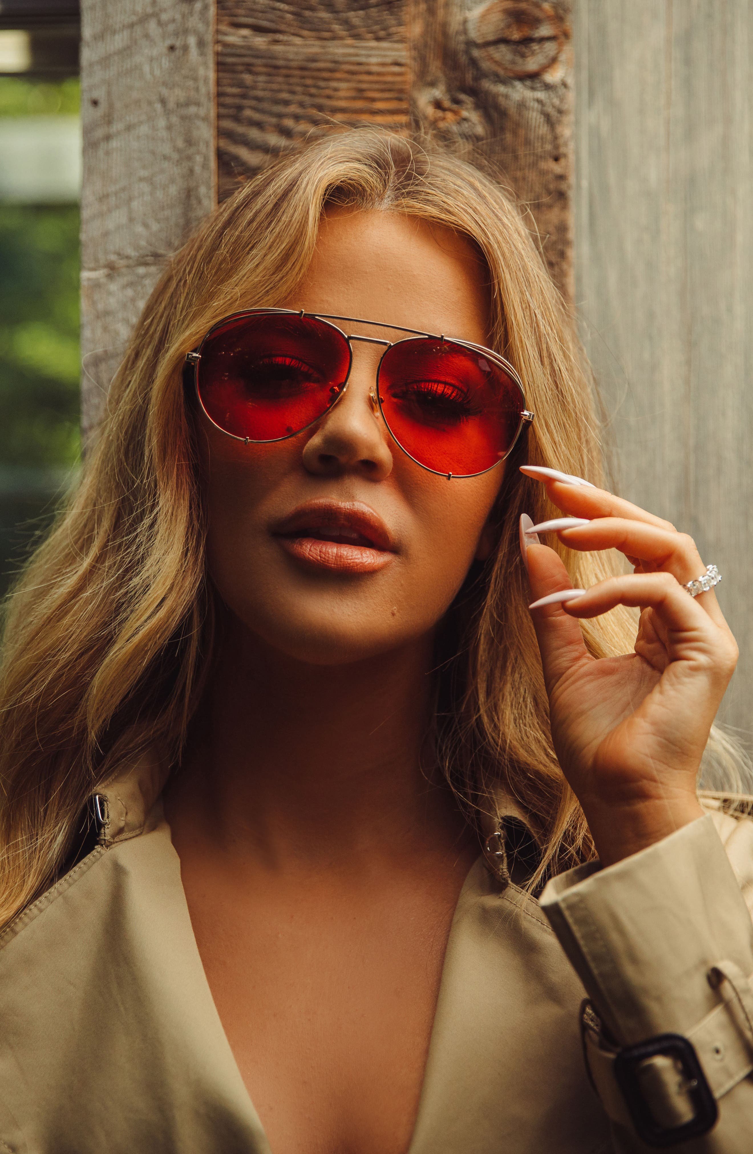 x Khloé Koko 63mm Oversize Aviator Sunglasses,                             Alternate thumbnail 3, color,                             710