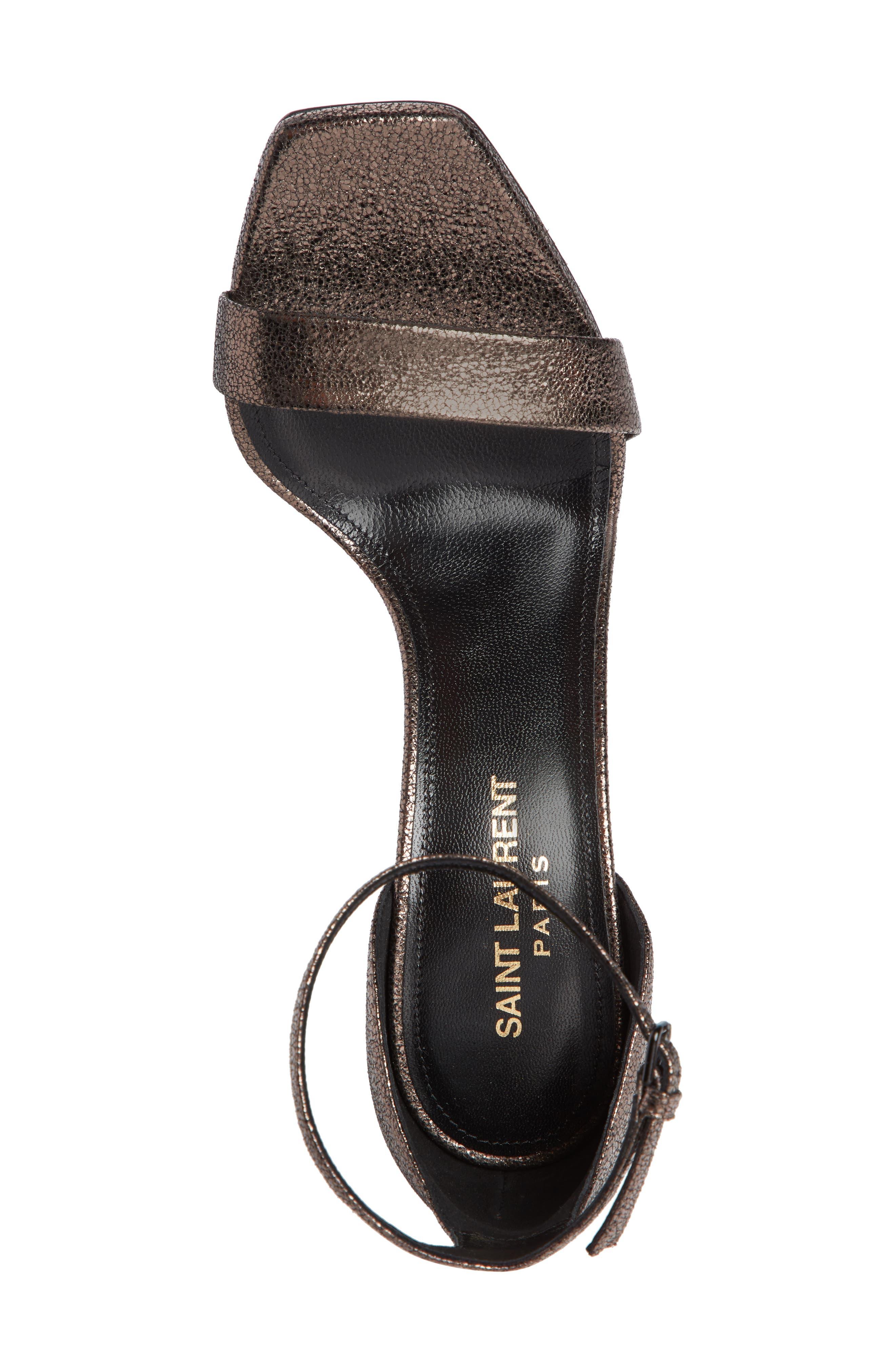 Amber Ankle Strap Sandal,                             Alternate thumbnail 4, color,                             BLACK/ METALLIC