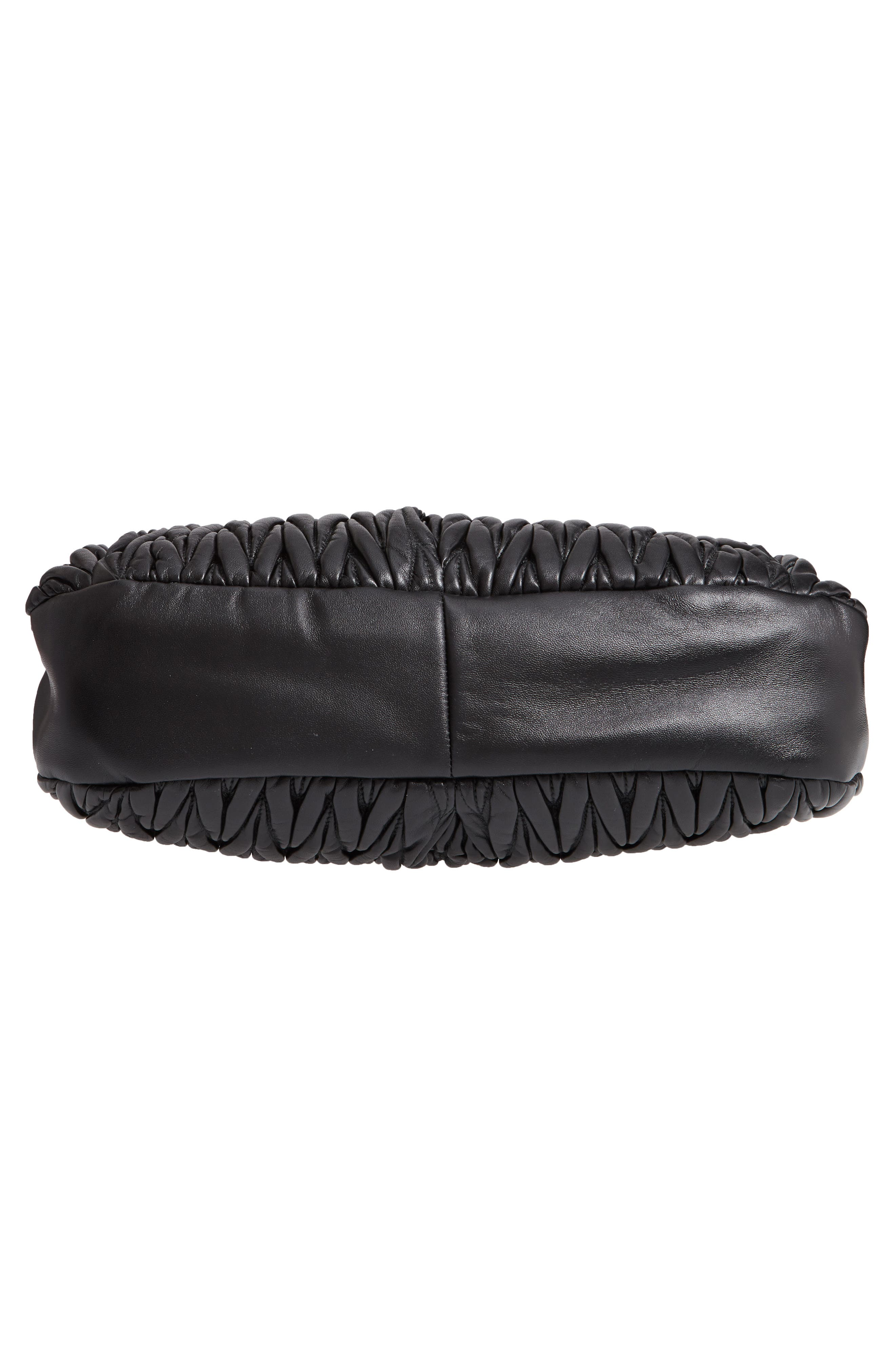 Matelassé Lambskin Leather Shoulder Bag,                             Alternate thumbnail 6, color,                             NERO