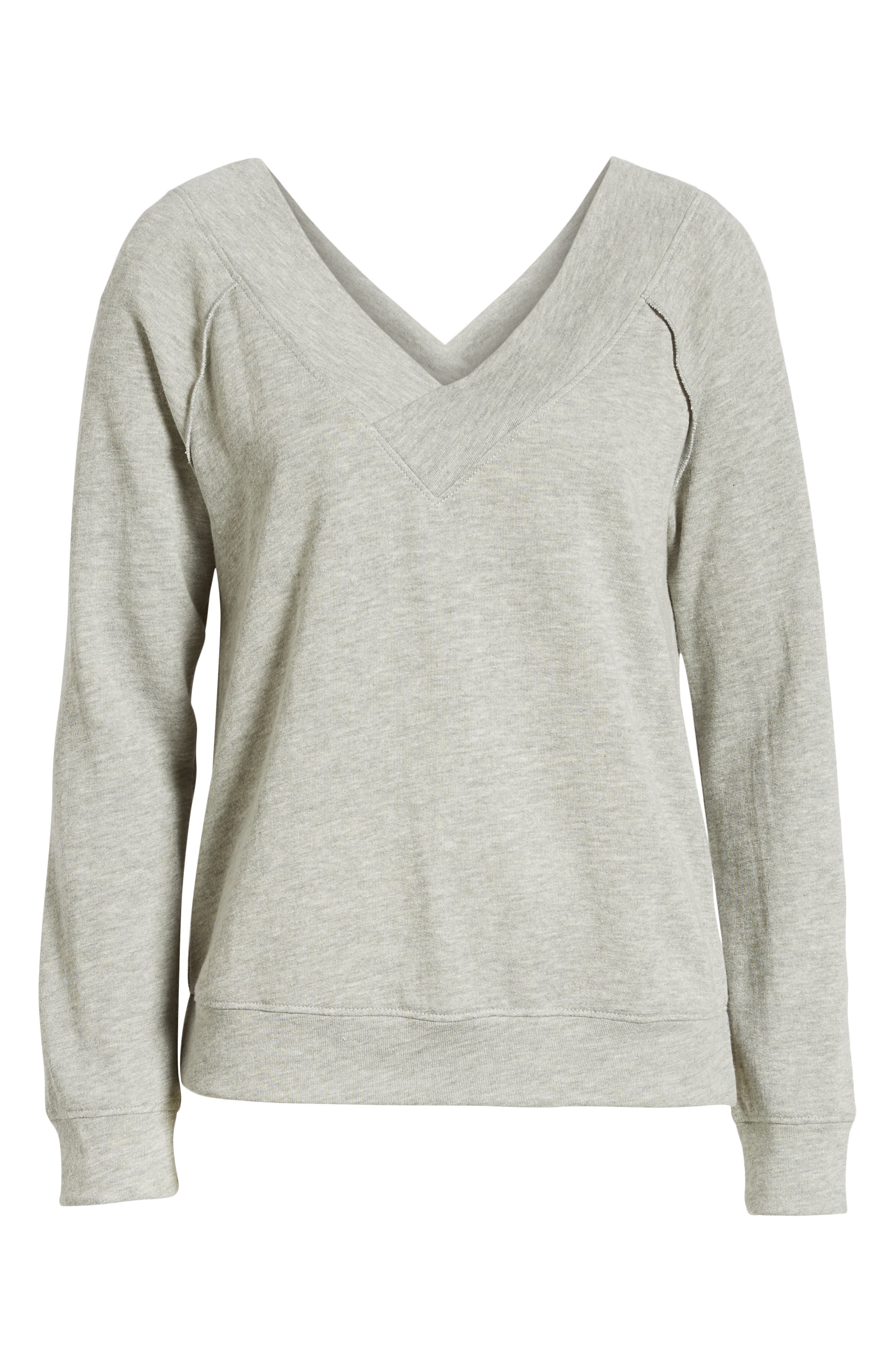 Double V-neck Sweatshirt,                             Alternate thumbnail 7, color,                             GREY PEARL HEATHER
