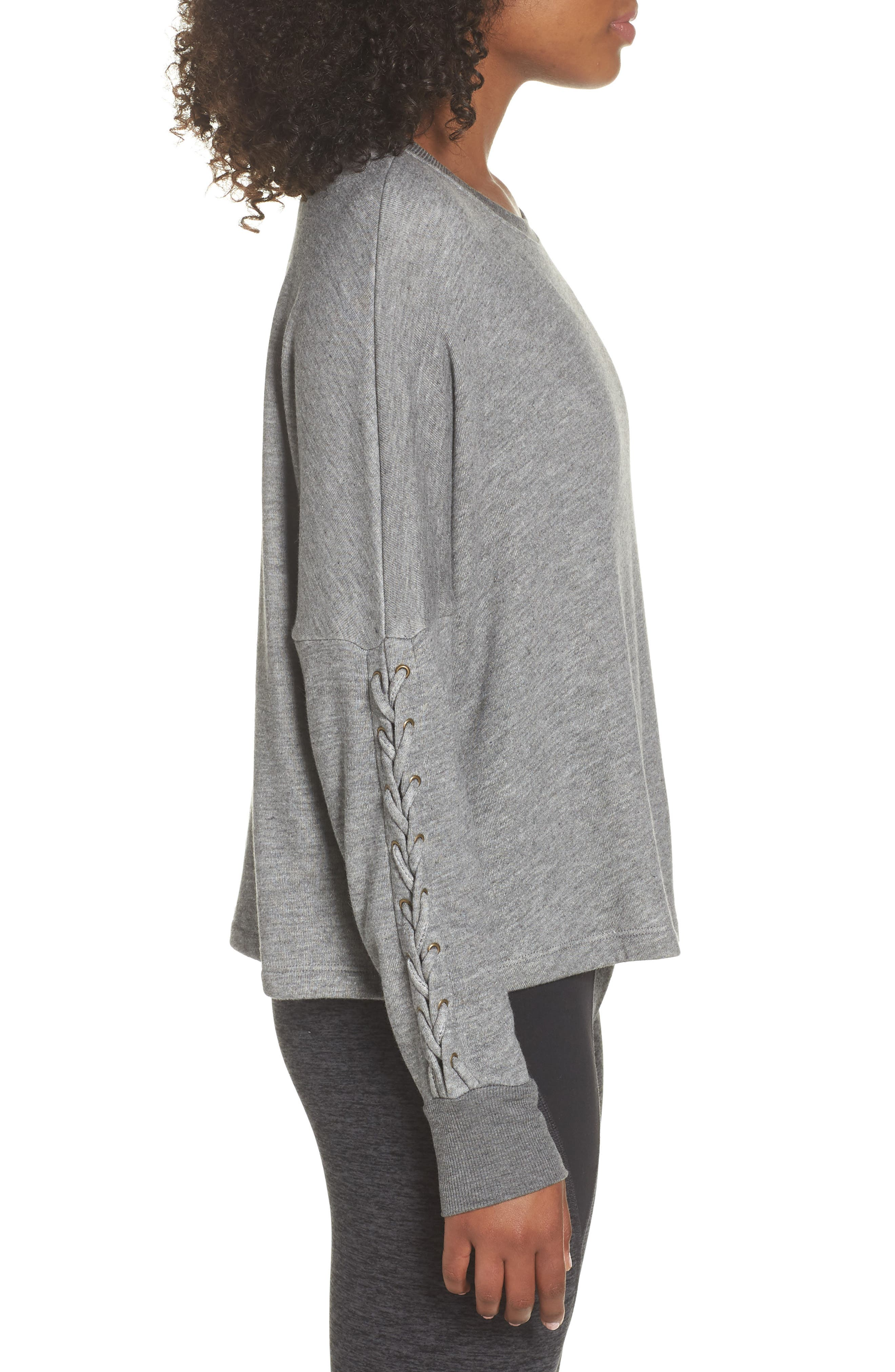 Laced Sleeve Pullover,                             Alternate thumbnail 3, color,                             MID HEATHER GREY
