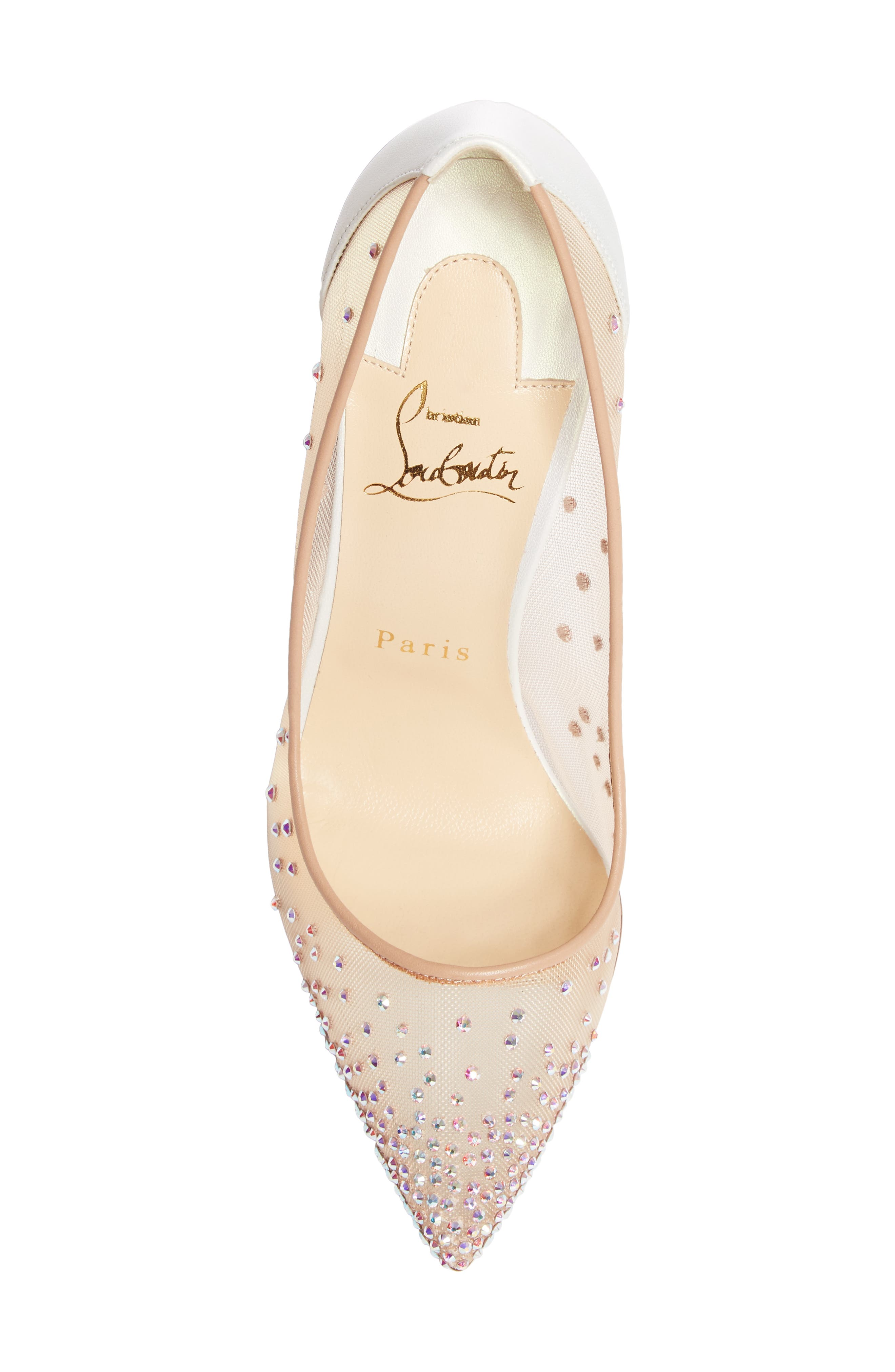 Follies Strass Pointy Toe Pump,                             Alternate thumbnail 5, color,                             SNOW/ NUDE