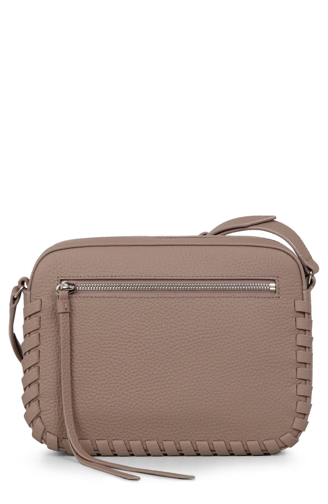 Kepi Mini Leather Crossbody Bag,                             Main thumbnail 1, color,                             ALMOND BROWN