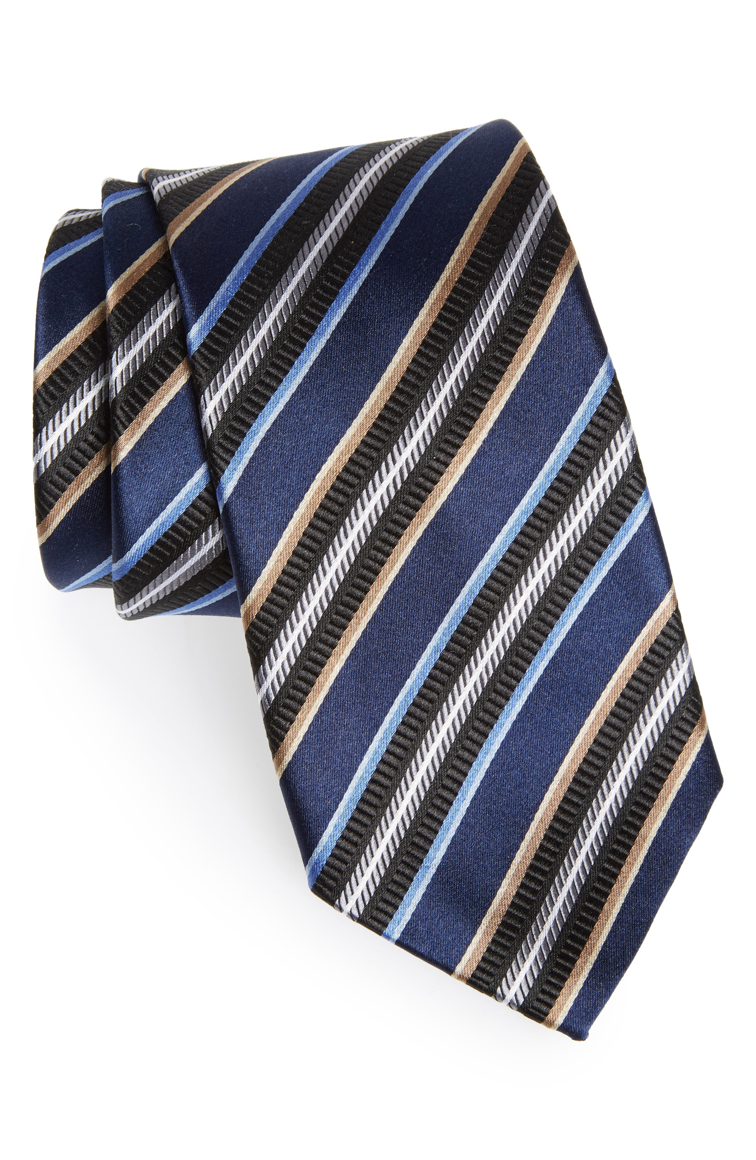 Striped Silk Tie,                         Main,                         color, 410