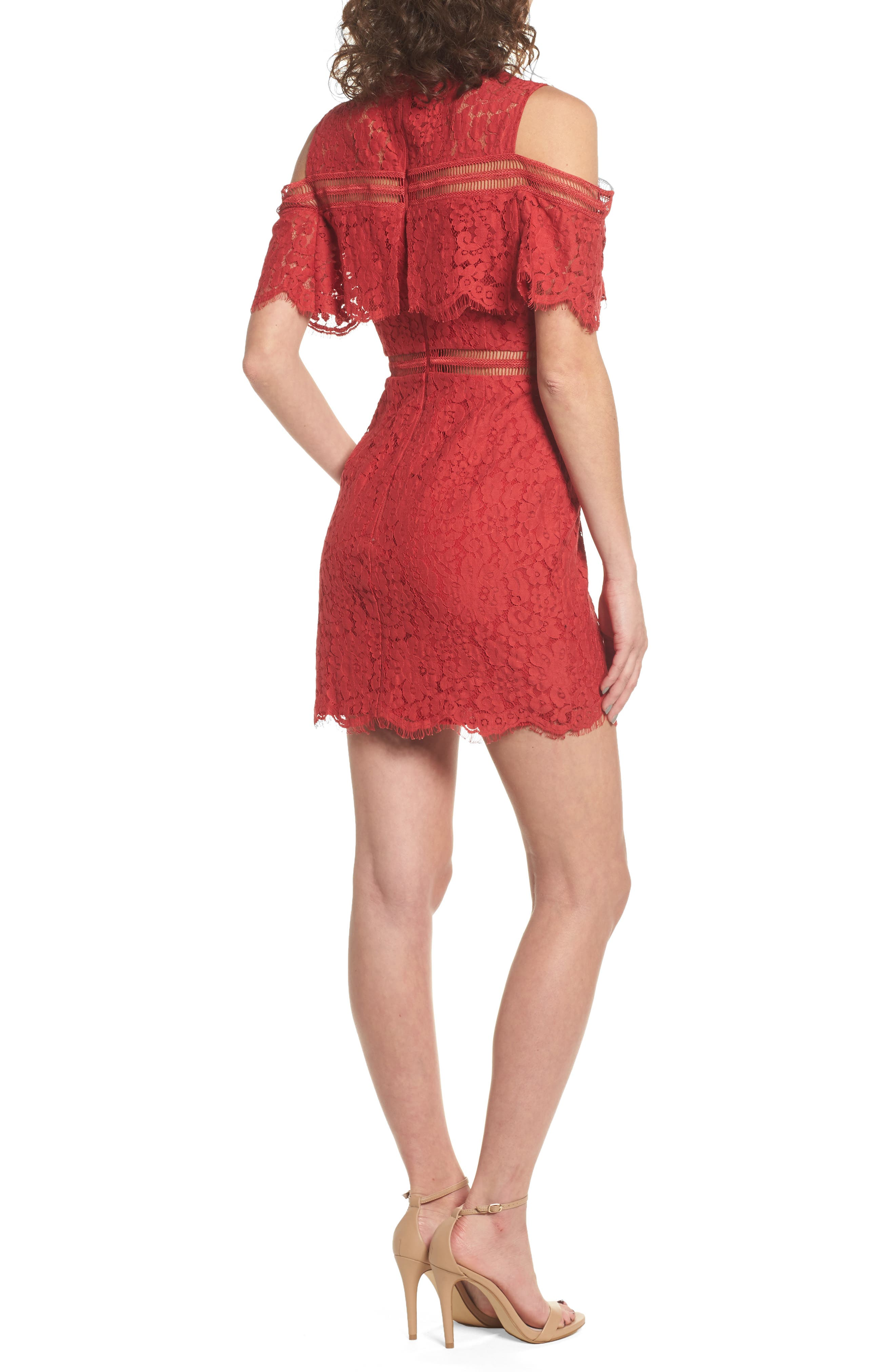Butterfly Lace Cold Shoulder Dress,                             Alternate thumbnail 2, color,                             623