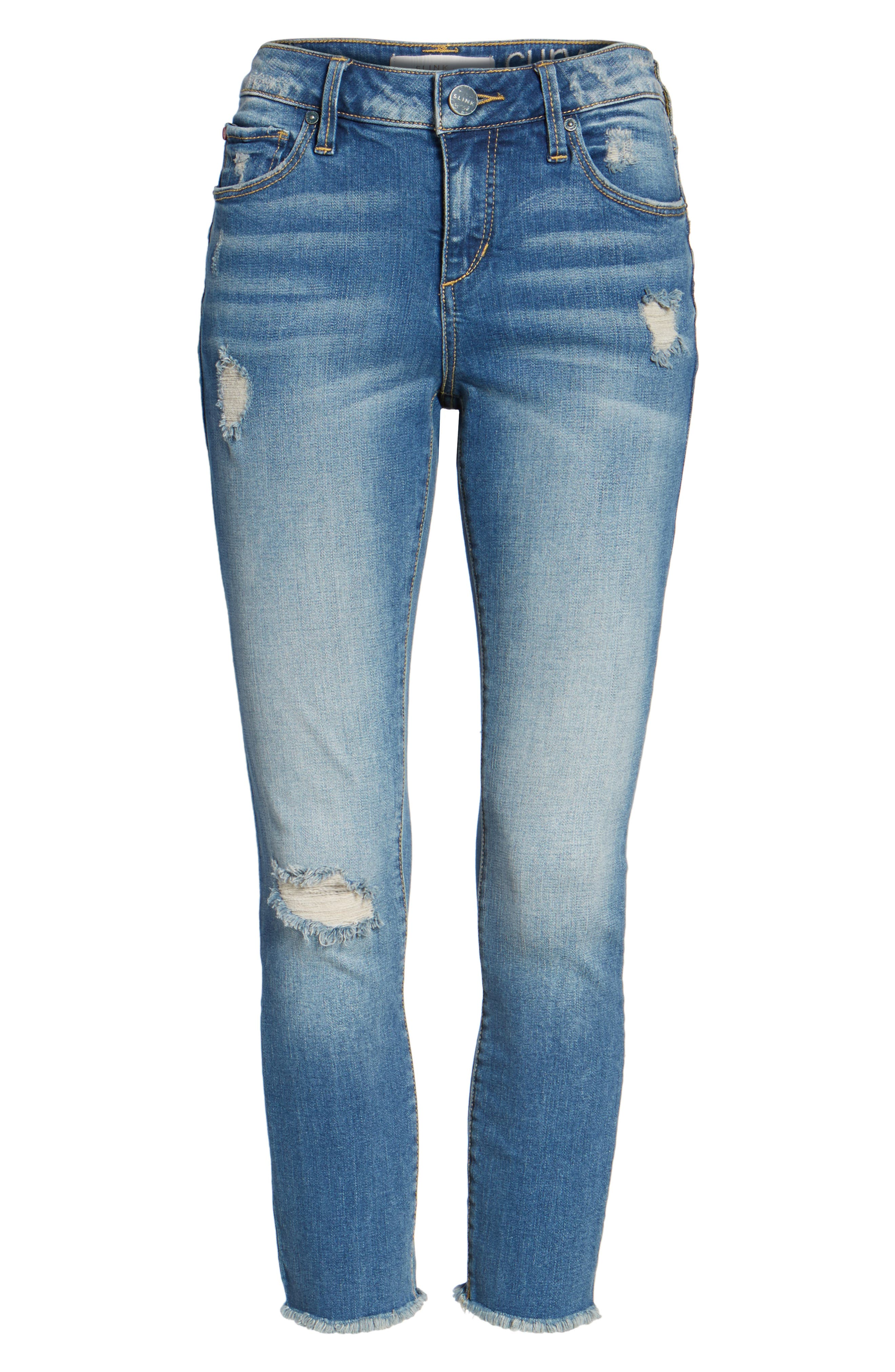 Frayed Hem Crop Jeans,                             Alternate thumbnail 6, color,                             CARALYN