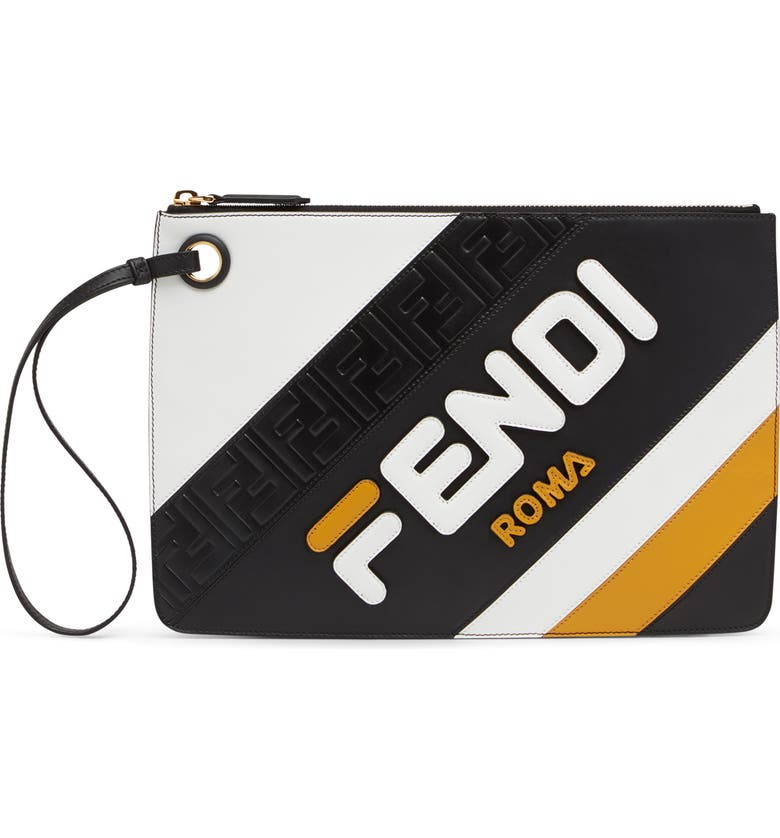 FENDI X FILA MEDIUM MANIA LOGO LEATHER CLUTCH - YELLOW