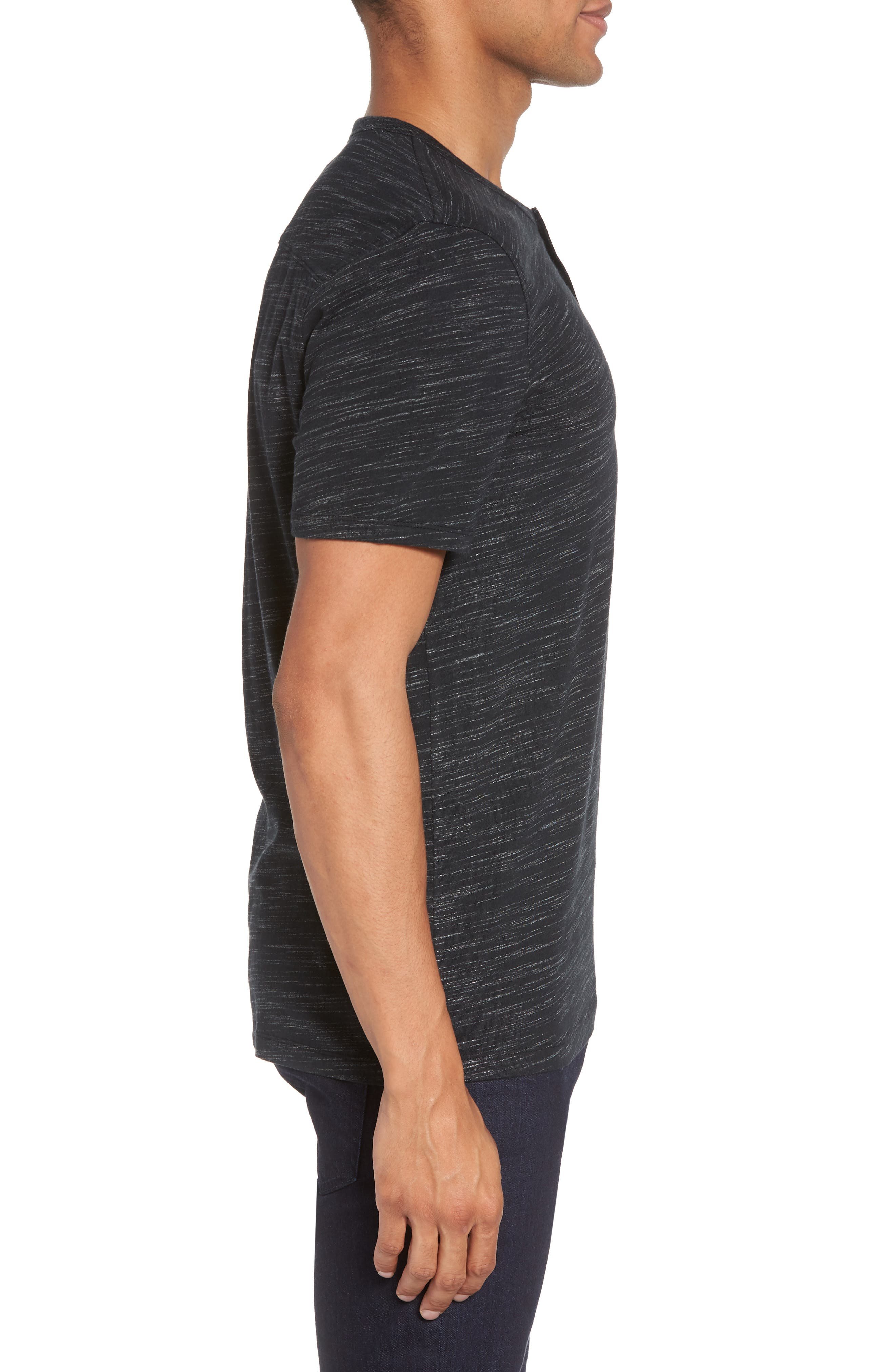 Space Dyed One-Button Henley T-Shirt,                             Alternate thumbnail 3, color,                             001