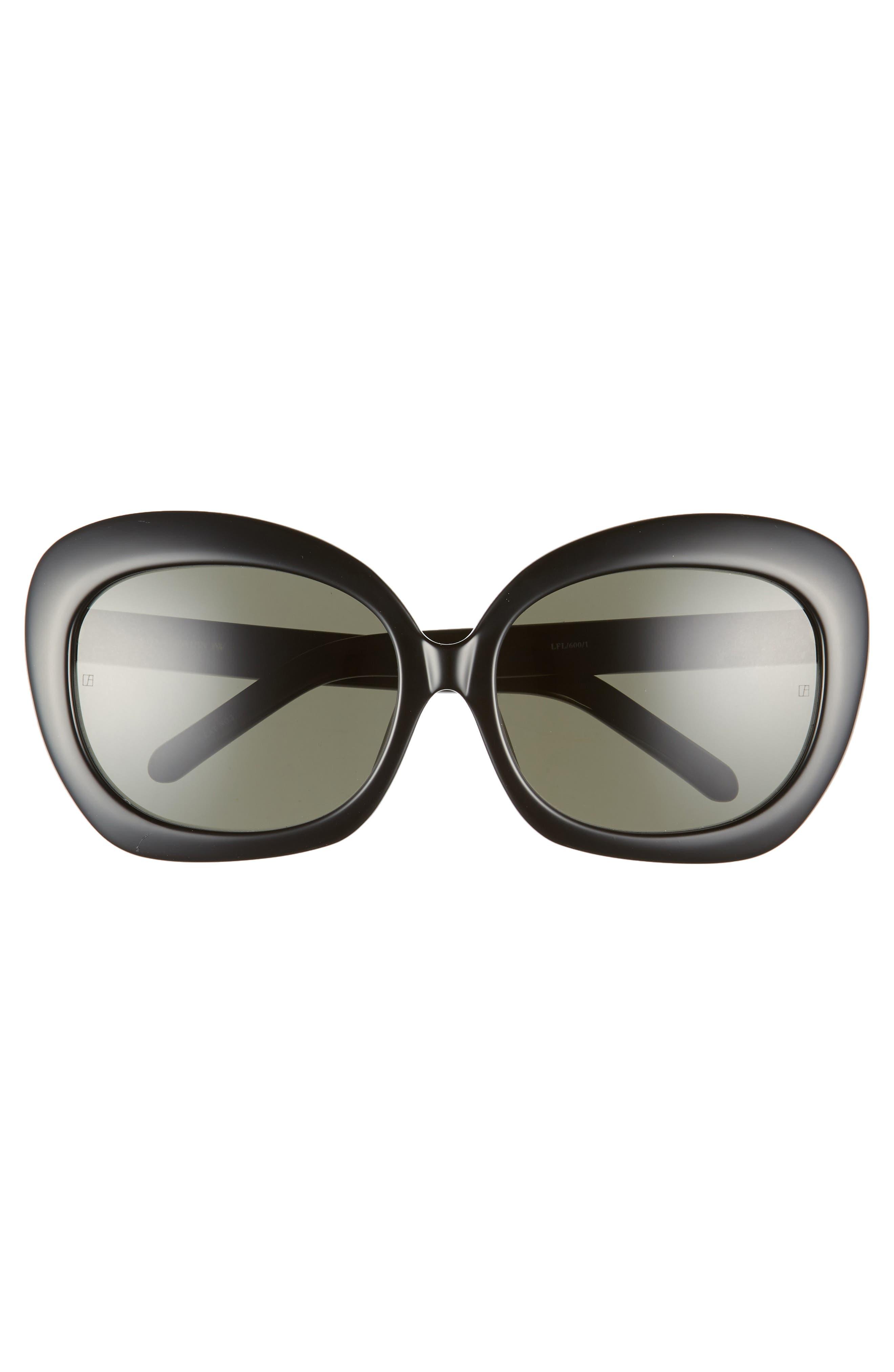 LINDA FARROW,                             62mm Oversize Round Sunglasses,                             Alternate thumbnail 3, color,                             BLACK