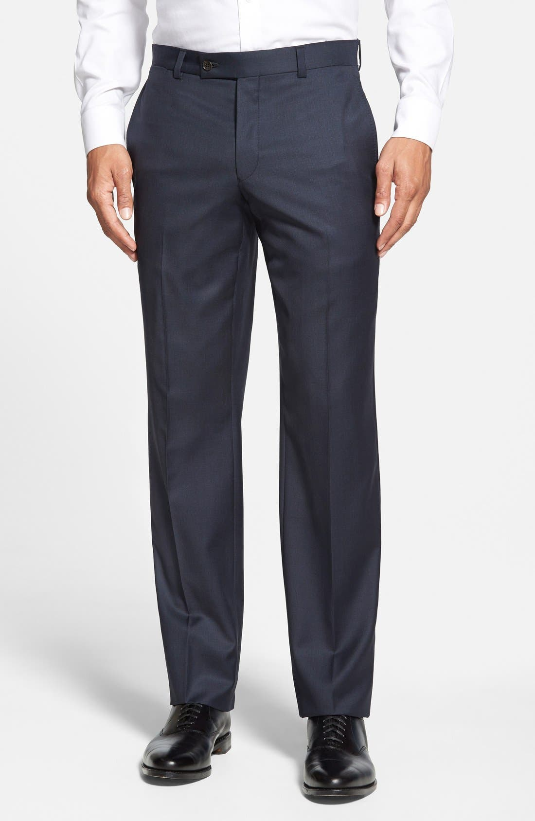 Jefferson Flat Front Wool Trousers,                             Main thumbnail 6, color,
