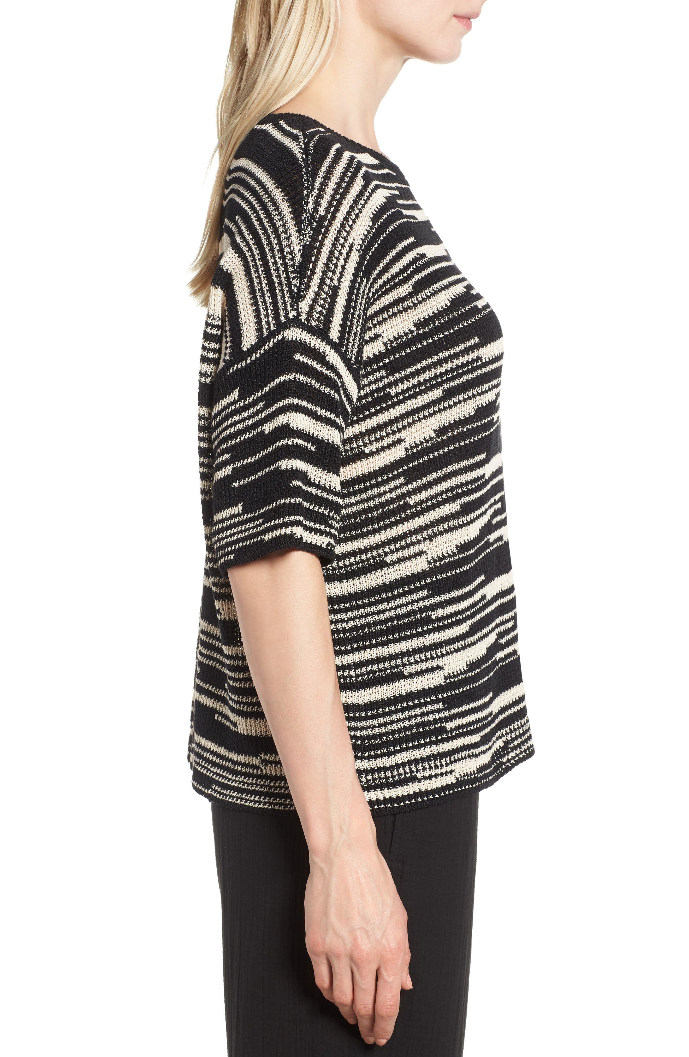 Stripe Organic Linen & Cotton Sweater,                             Alternate thumbnail 3, color,