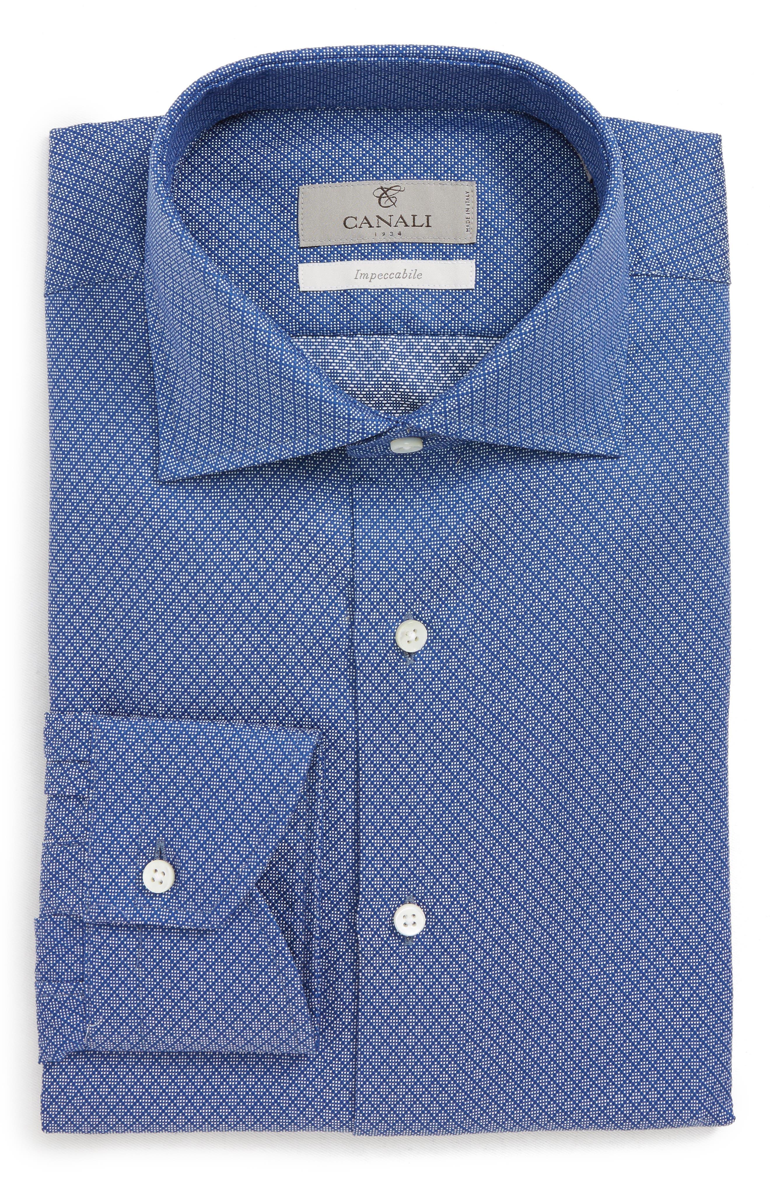 Trim Fit Print Dress Shirt,                         Main,                         color, DARK BLUE