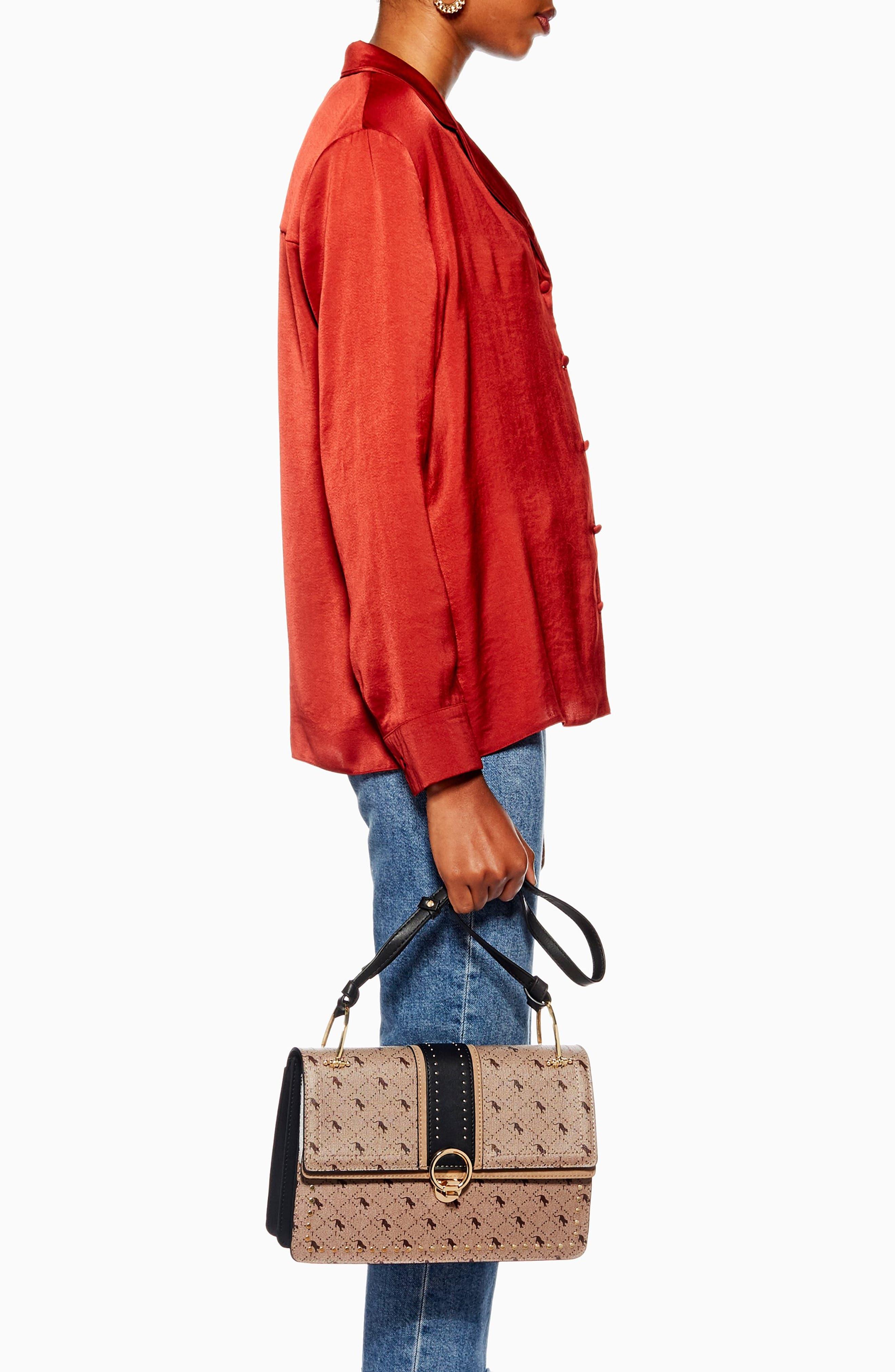 Madrid Studded Faux Leather Shoulder Bag,                             Alternate thumbnail 5, color,                             TAUPE MULTI