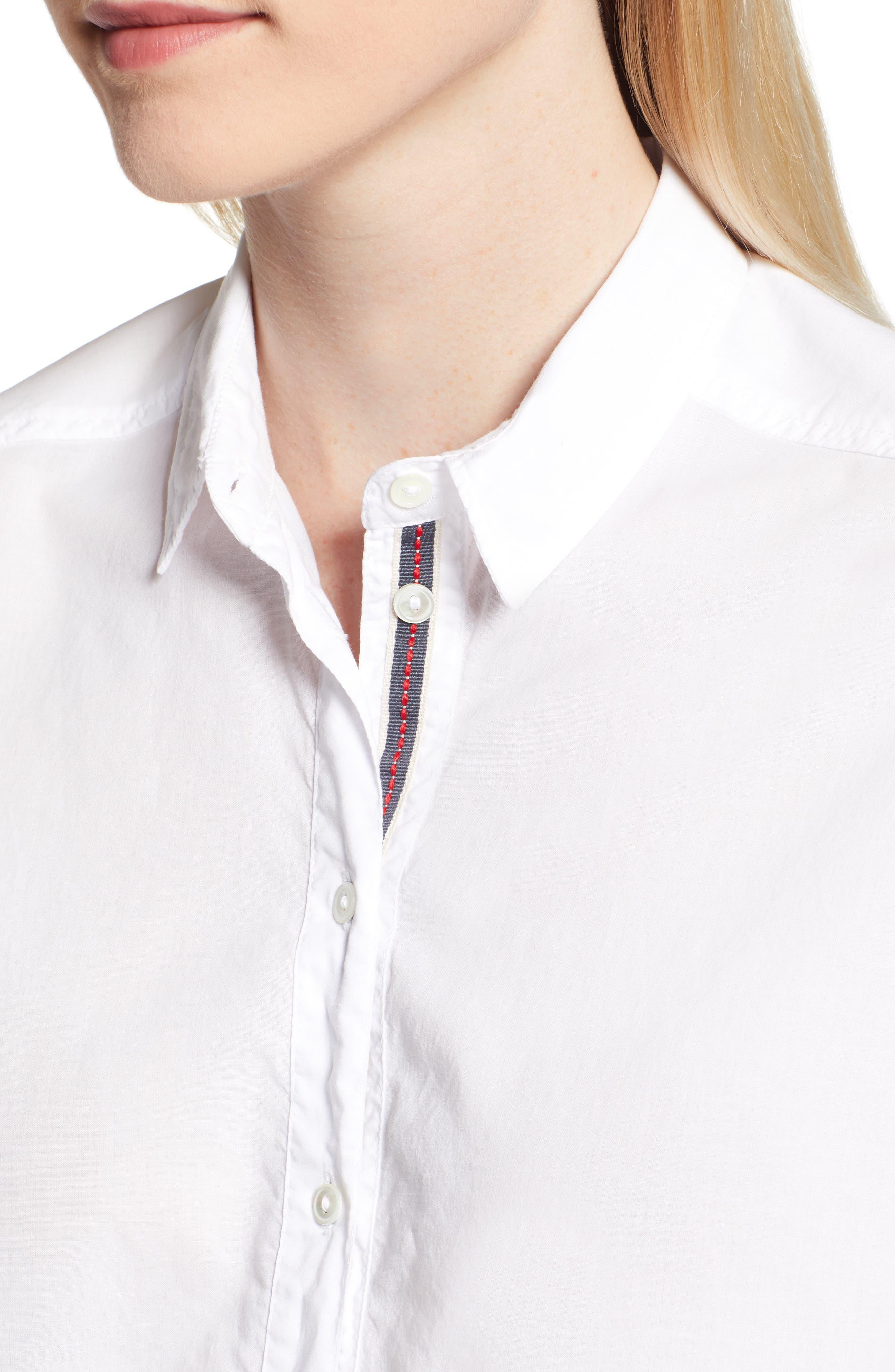 Ribbon Placket Cotton Button Up Shirt,                             Alternate thumbnail 4, color,                             WHITE