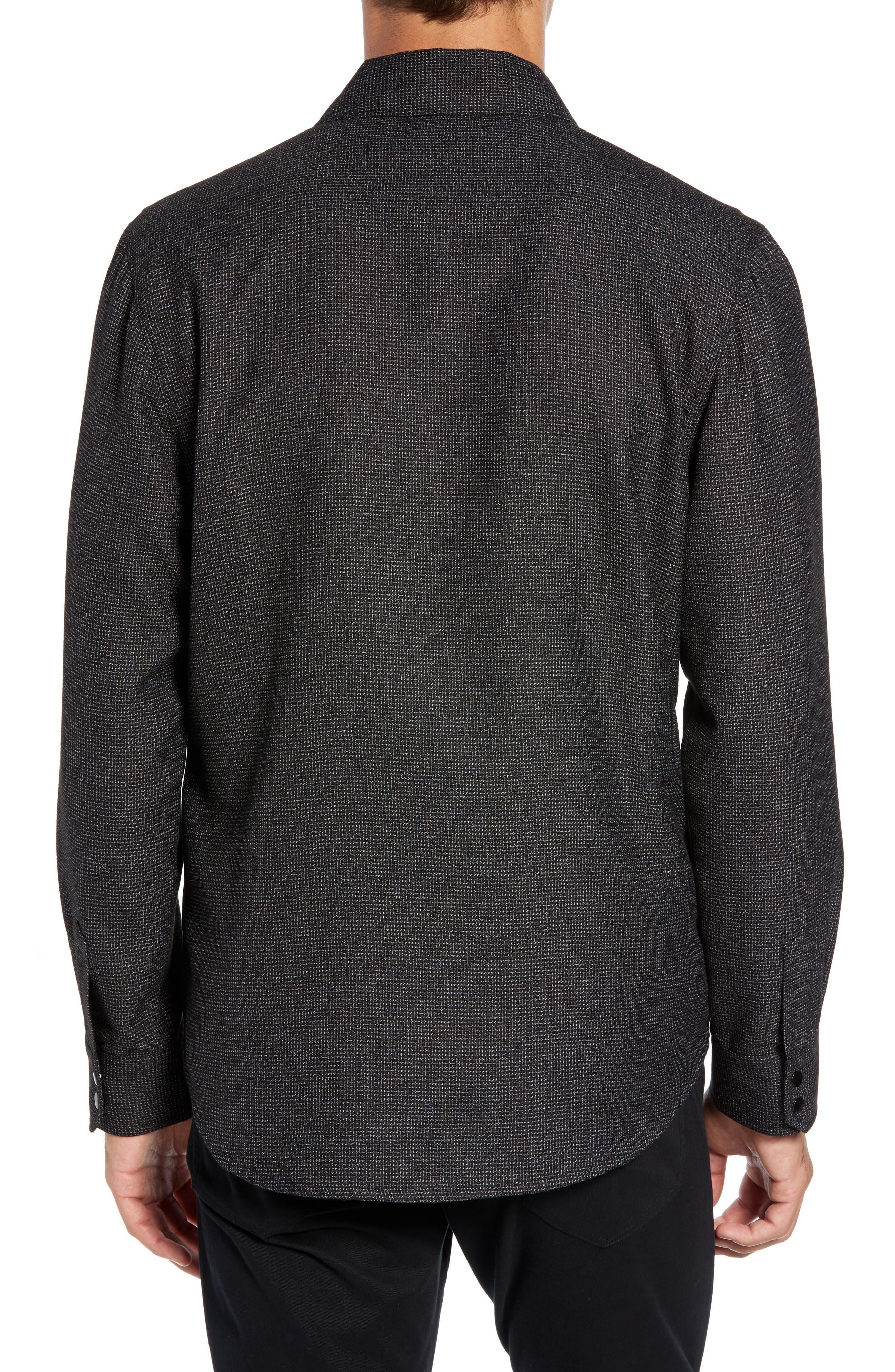 Grid Zip Shirt Jacket,                             Alternate thumbnail 2, color,                             BLACK WHITE GRID