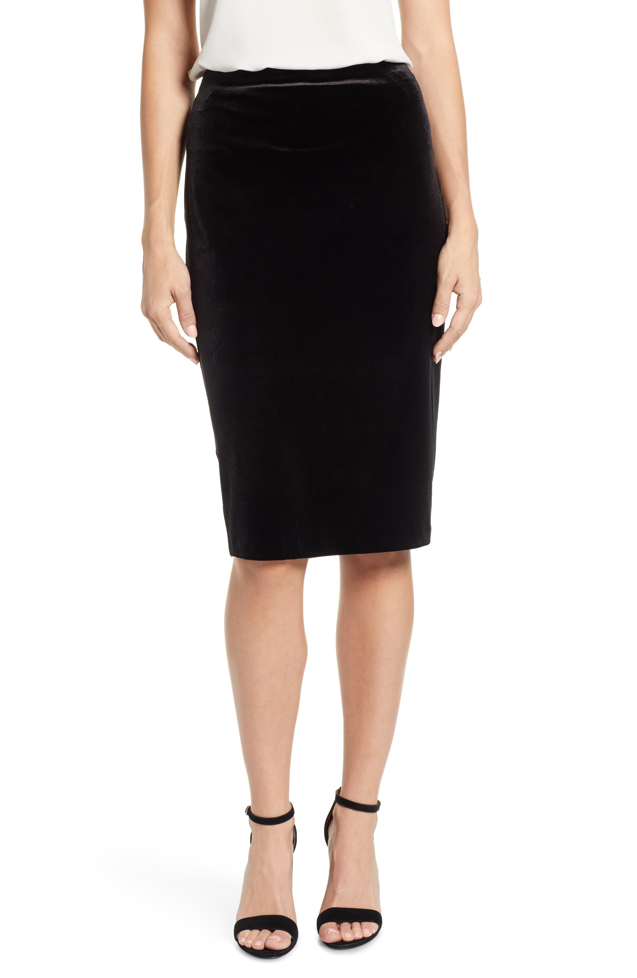 Vince Camuto Velvet Pencil Skirt, Black