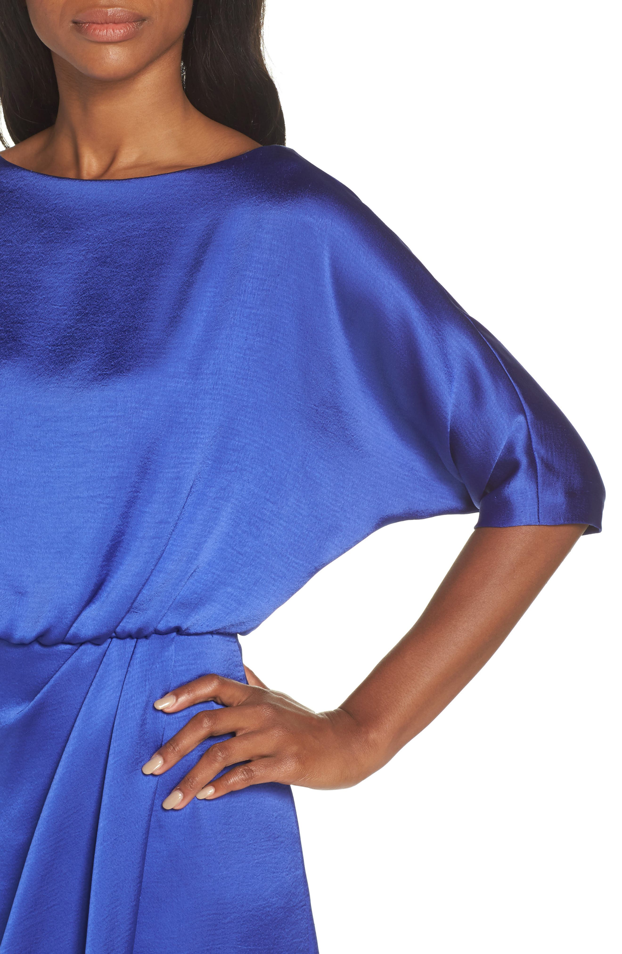 Draped Blouson Dress,                             Alternate thumbnail 4, color,                             EMPIRE BLUE