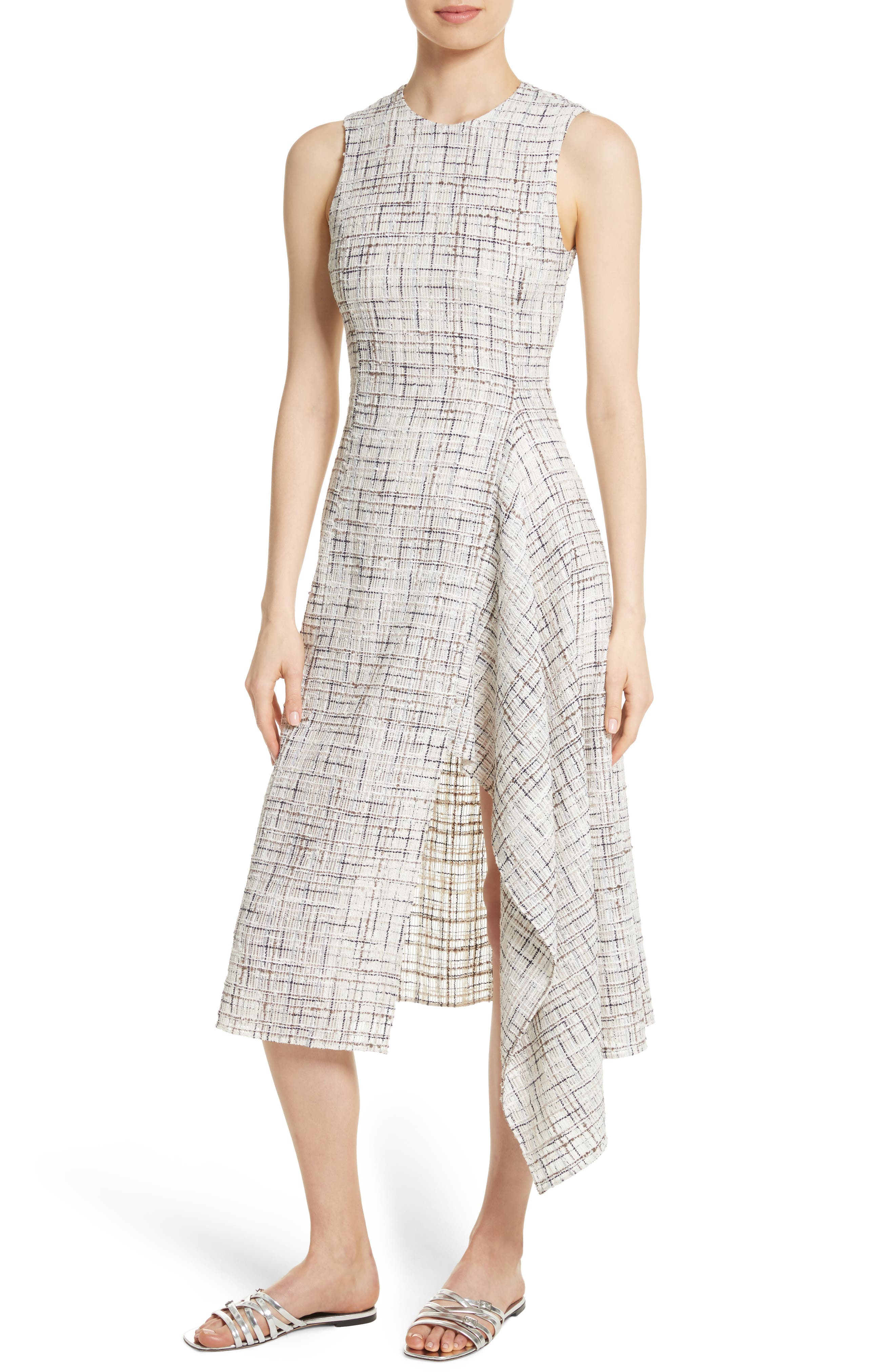Draped Tweed Dress,                             Alternate thumbnail 4, color,