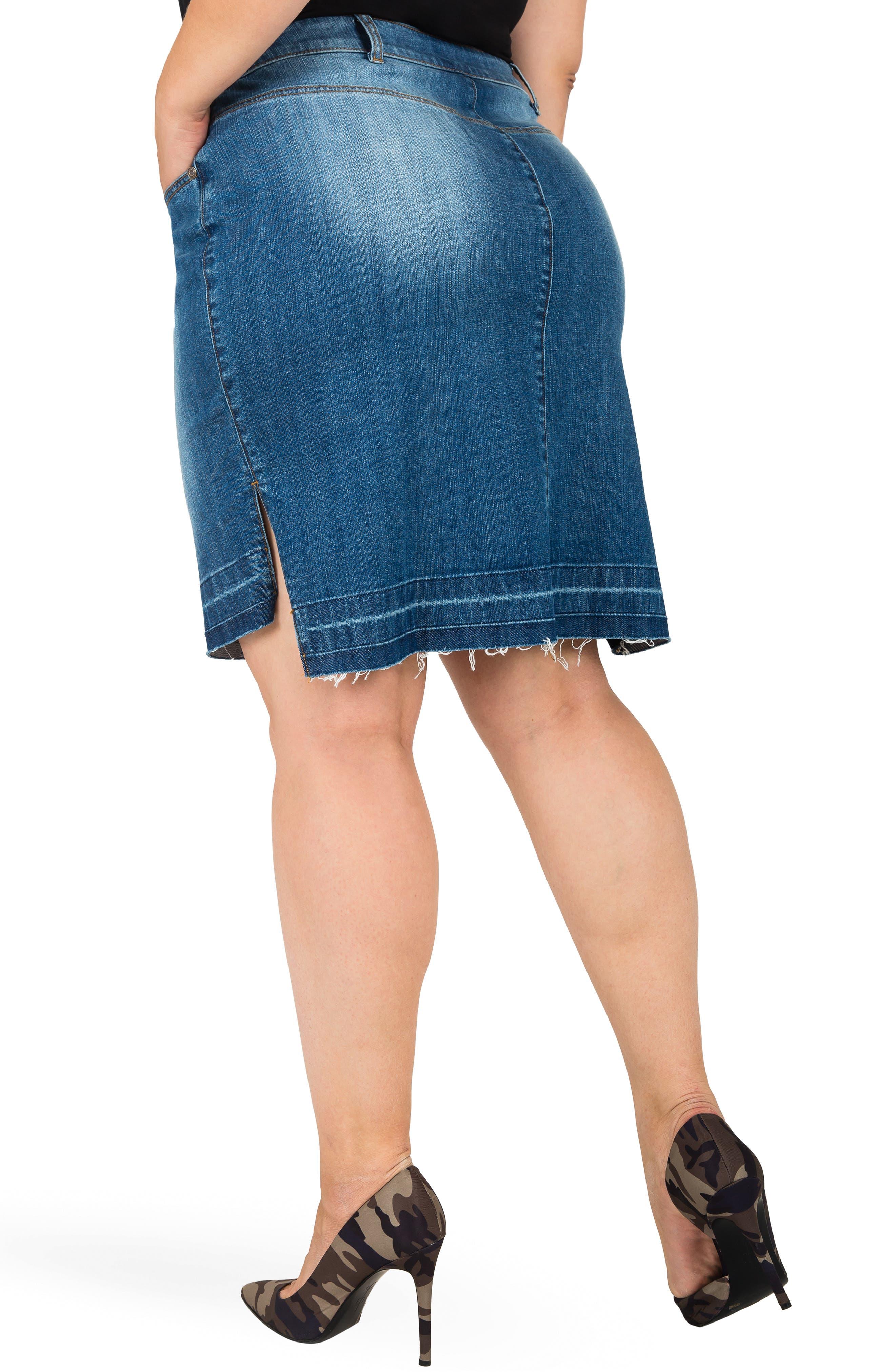 Dariah Released Step Hem Denim Skirt,                             Alternate thumbnail 2, color,                             BLUE