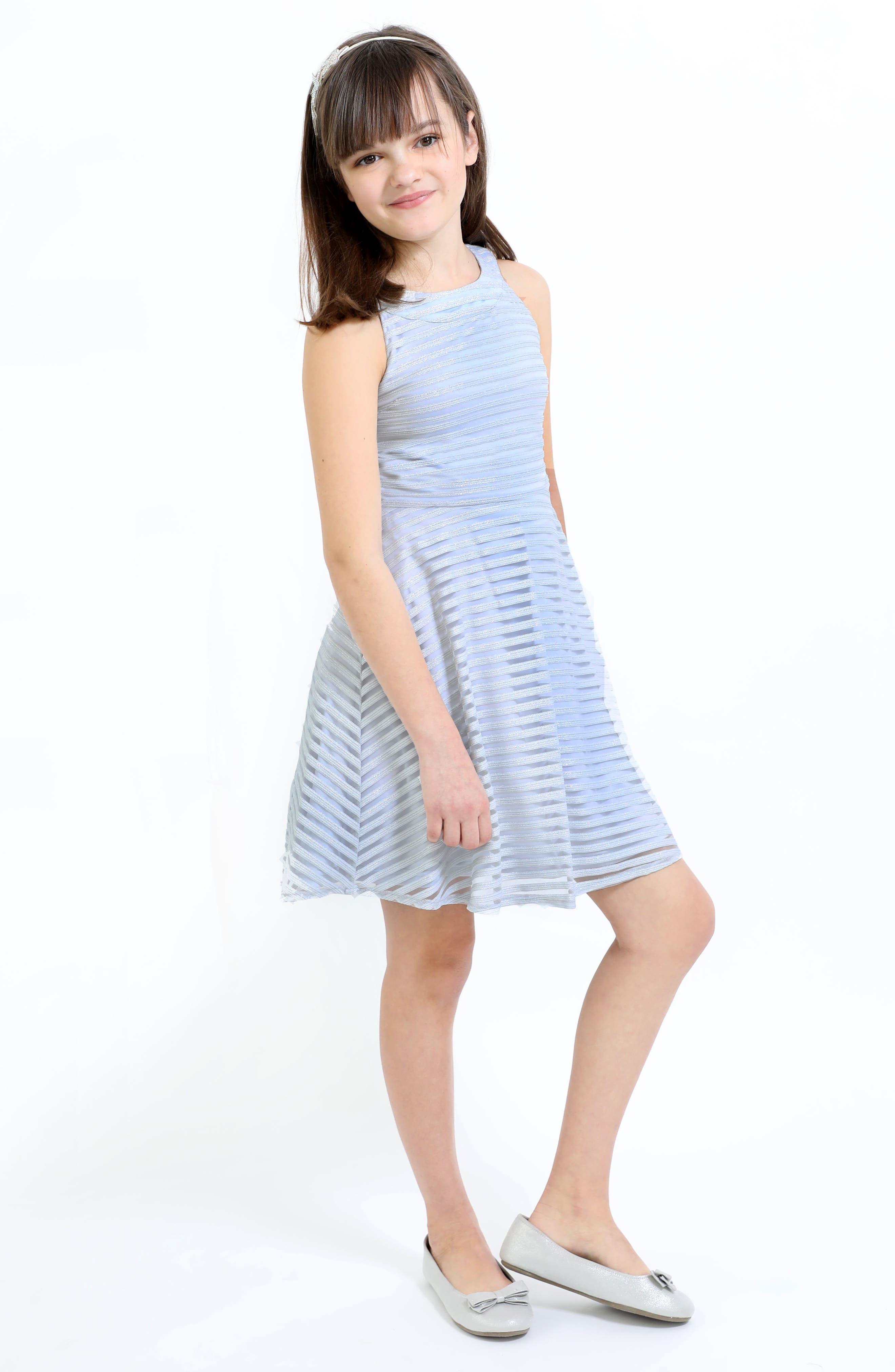 Shadow Stripe Skater Dress,                             Alternate thumbnail 4, color,                             LIGHT BLUE