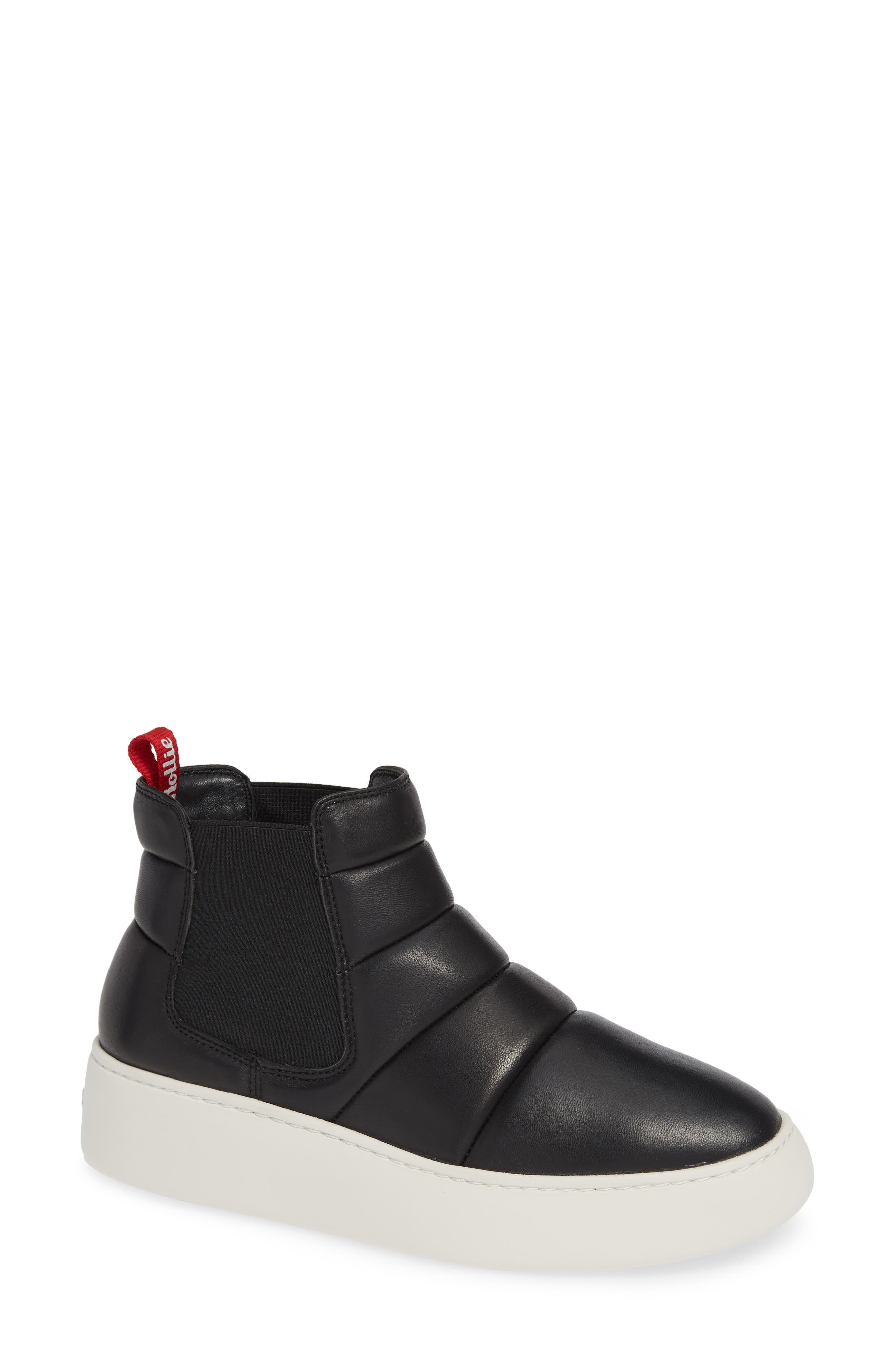 Snow City Quilted Chelsea Sneaker Boot, Main, color, BLACK NAPPA