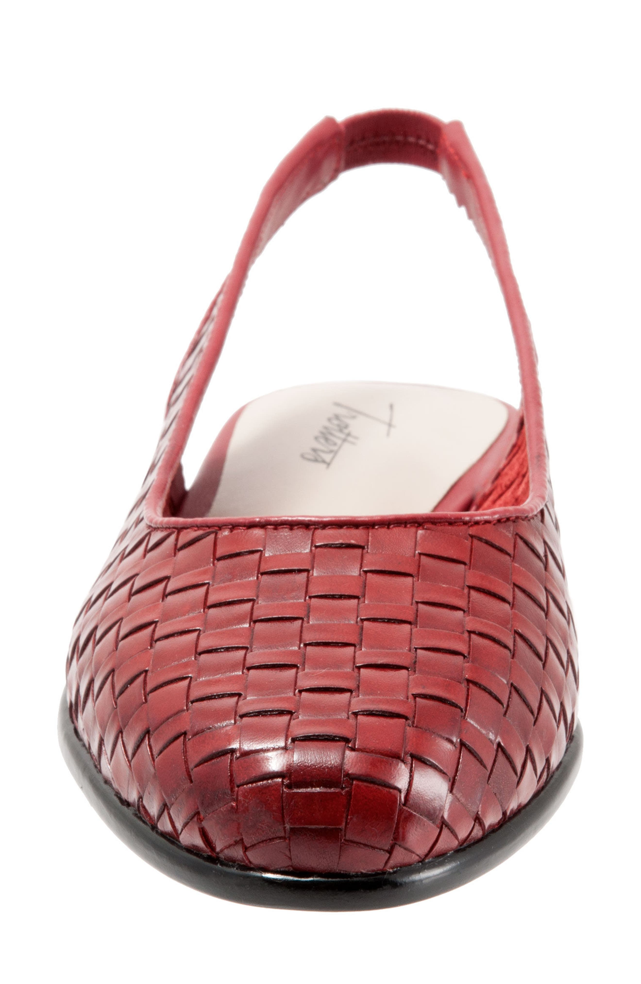 Lucy Slingback Flat,                             Alternate thumbnail 4, color,                             RED LEATHER