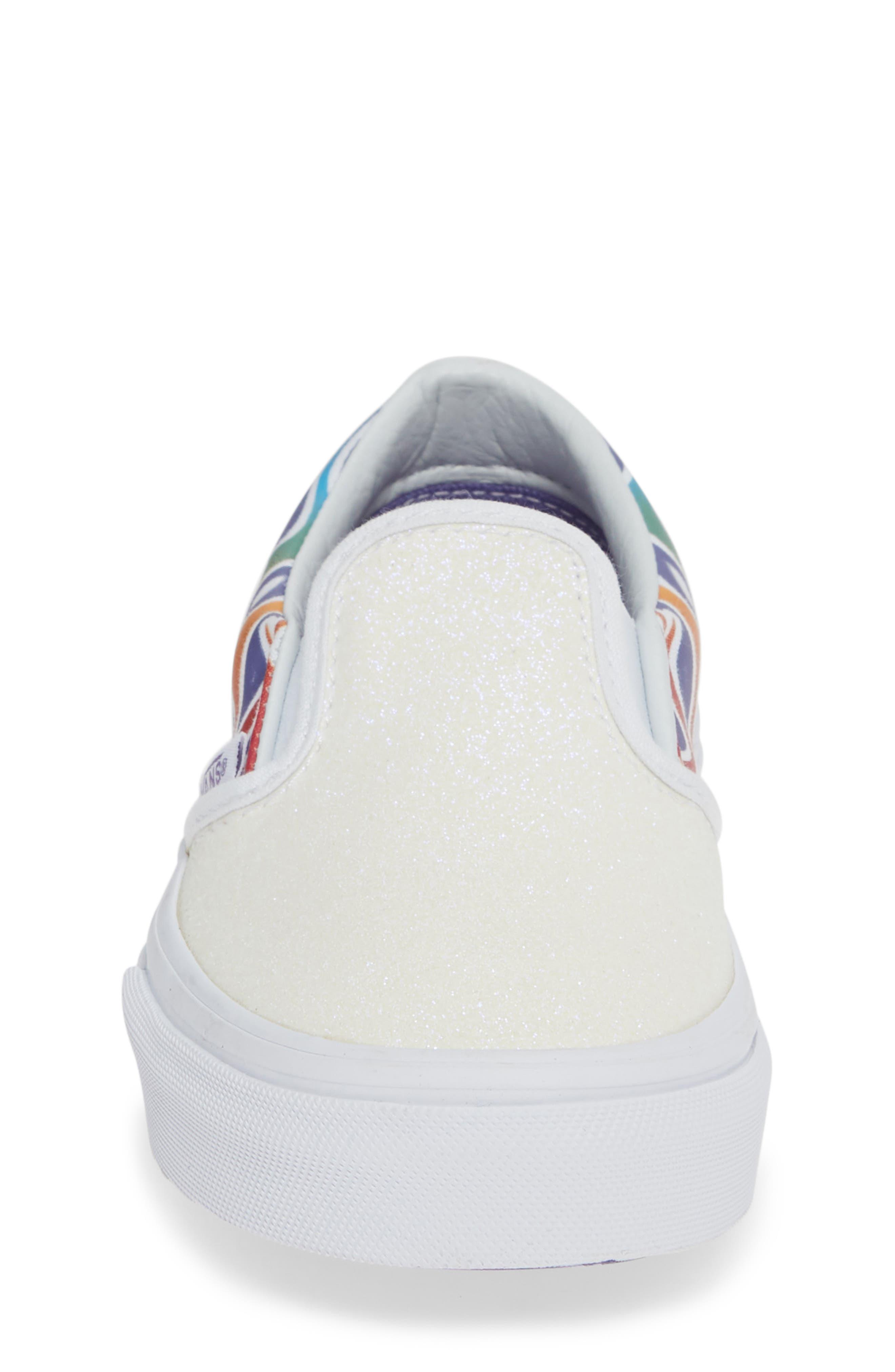 VANS,                             Classic Slip-On Glitter Sneaker,                             Alternate thumbnail 4, color,                             110