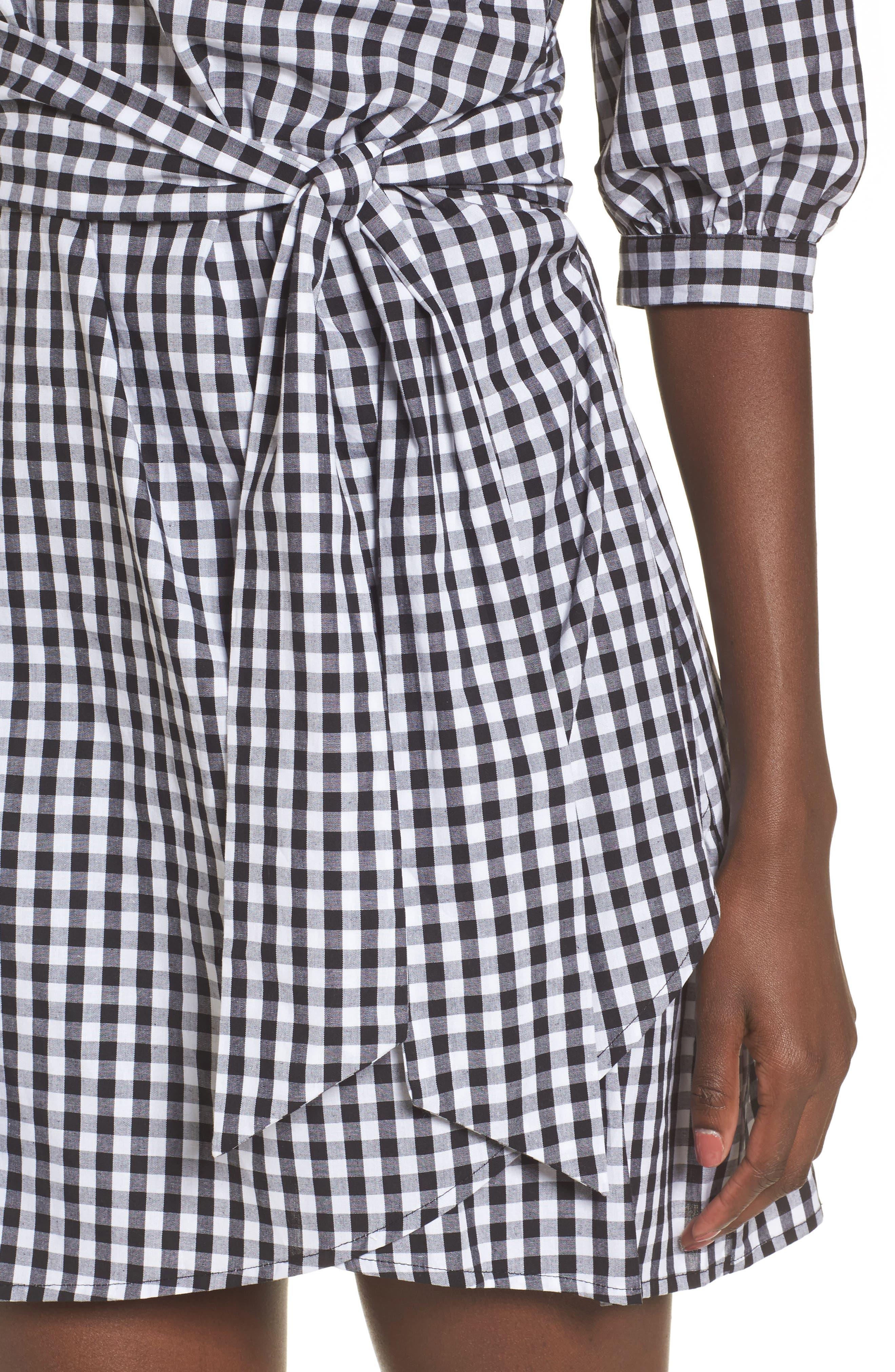 Cotton Poplin Wrap Dress,                             Alternate thumbnail 4, color,                             001