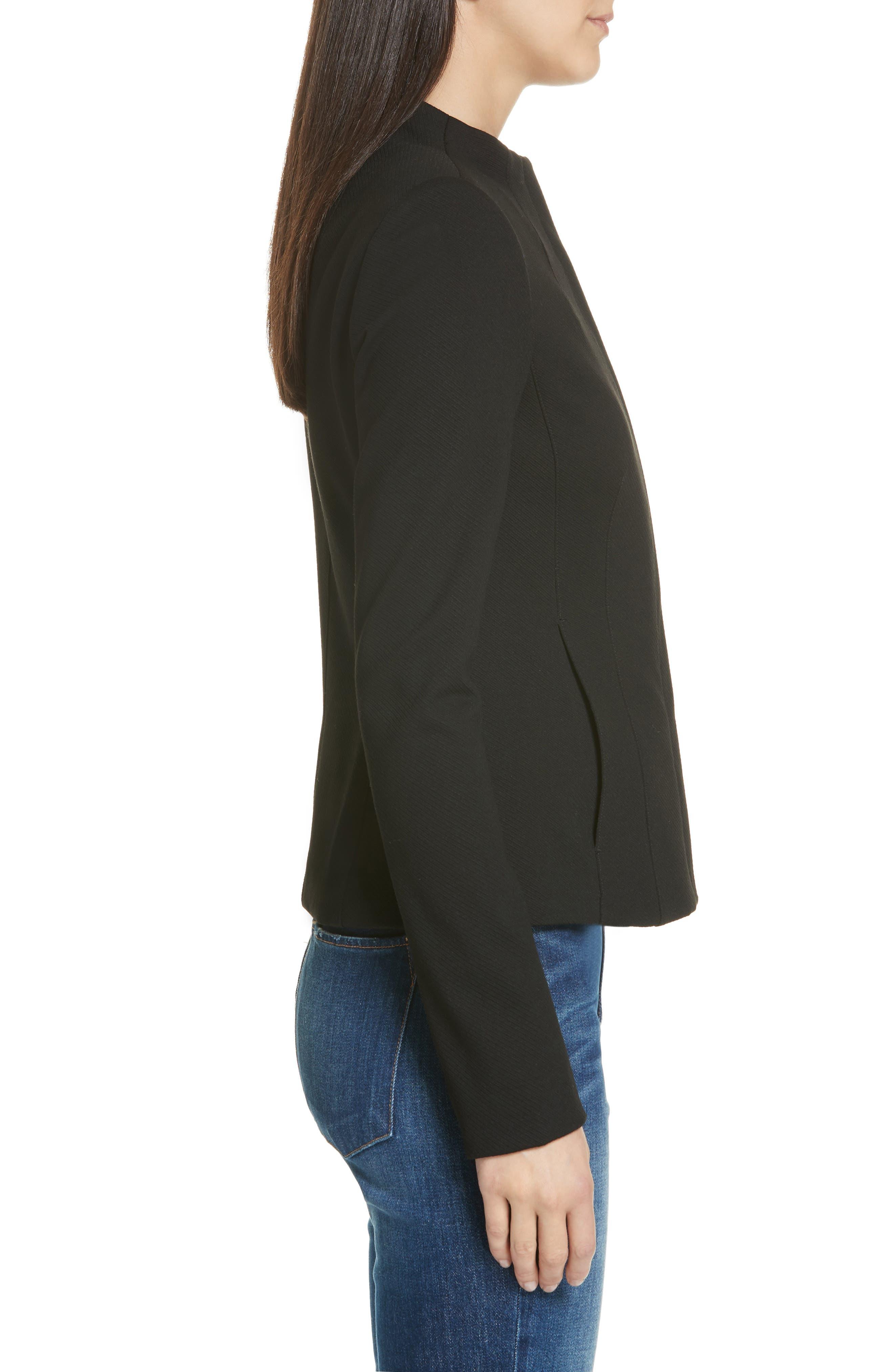 Sculpted Twill Knit Jacket,                             Alternate thumbnail 3, color,                             BLACK