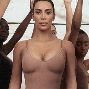 Kim Kardashian West models SKIMS, her line of shapewear and underwear.