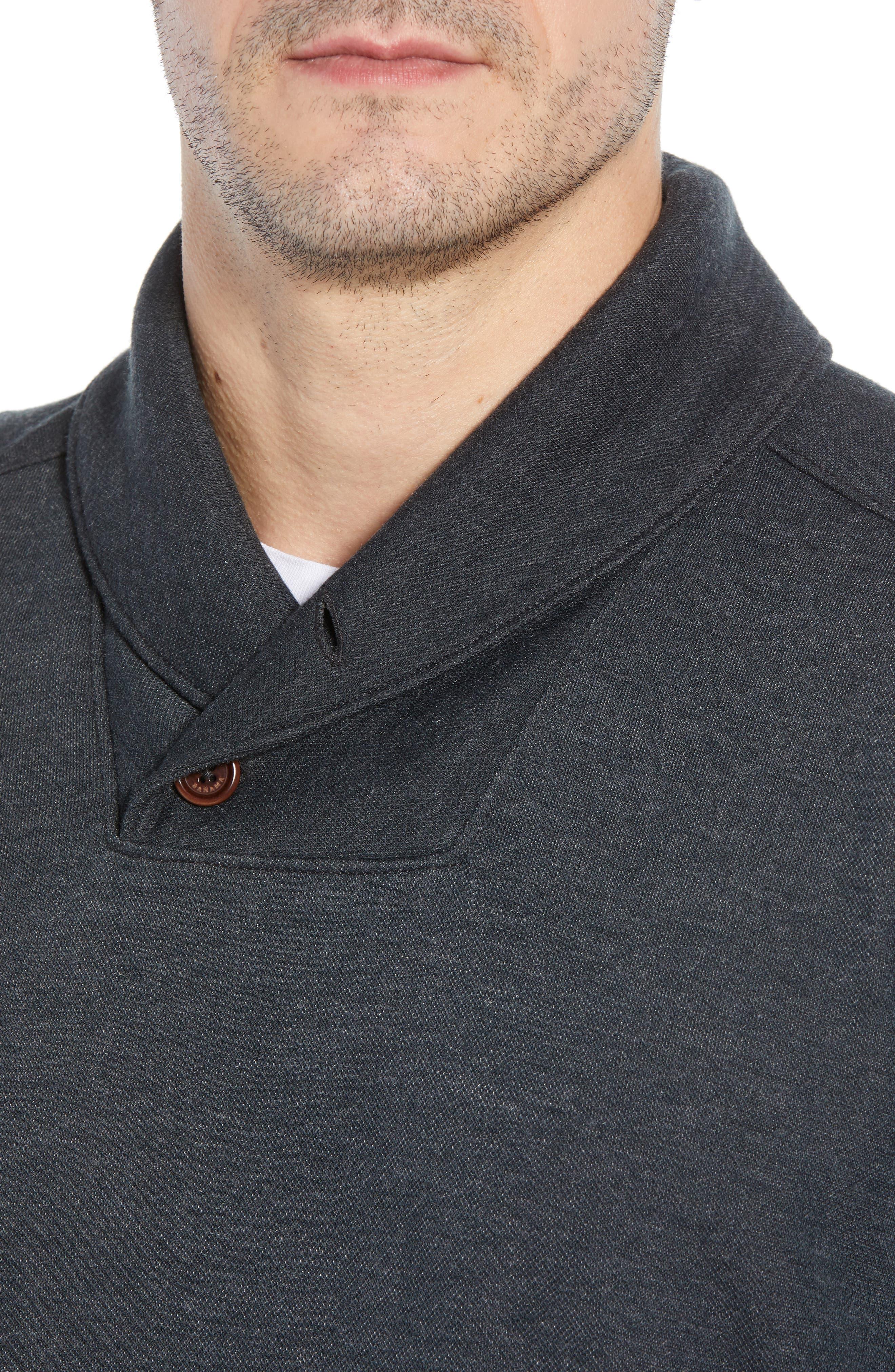 Sandbar Shawl Collar Regular Fit Pullover,                             Alternate thumbnail 4, color,                             COAL