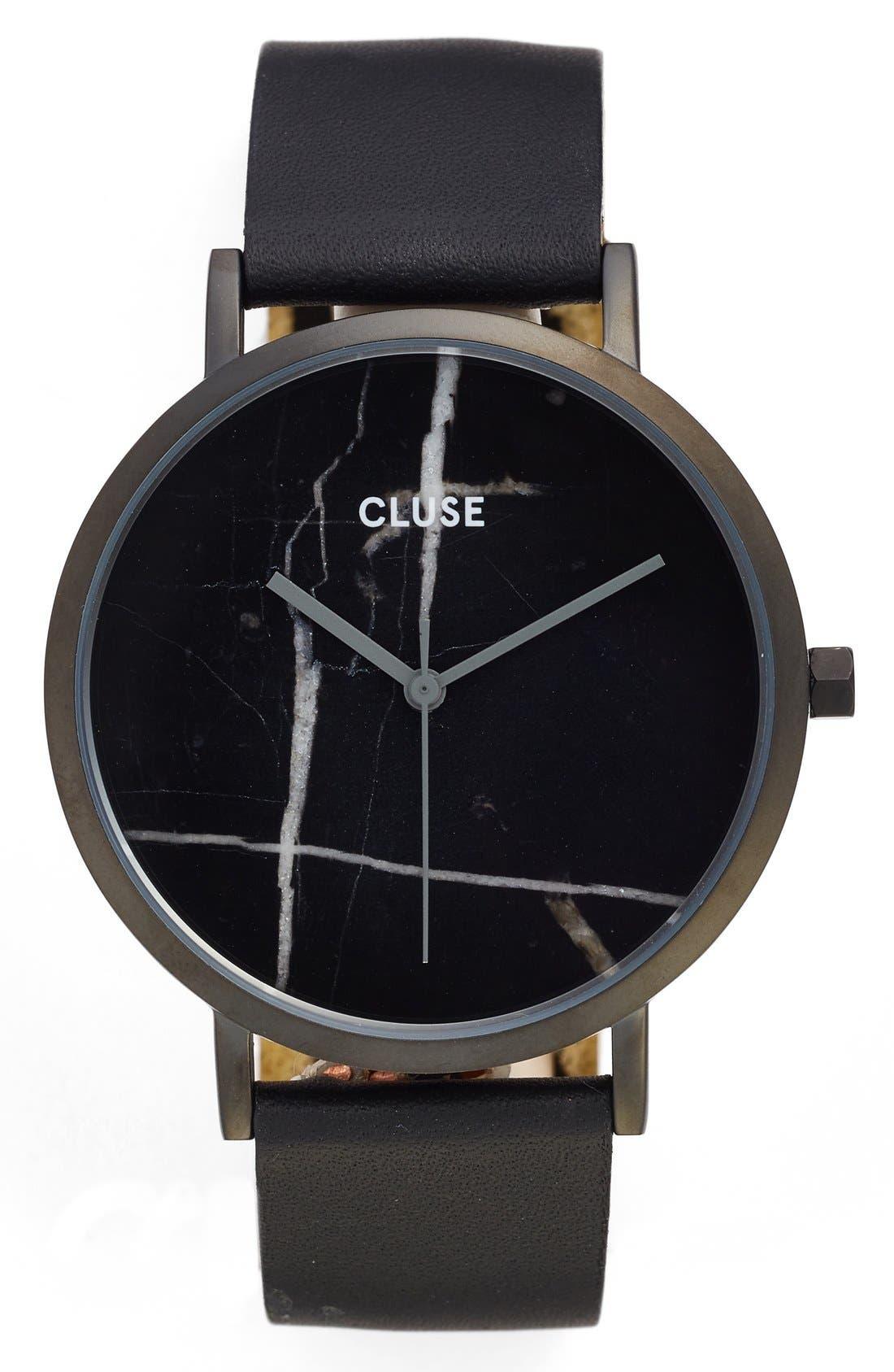 La Roche Marble Leather Strap Watch, 38mm,                         Main,                         color, 001