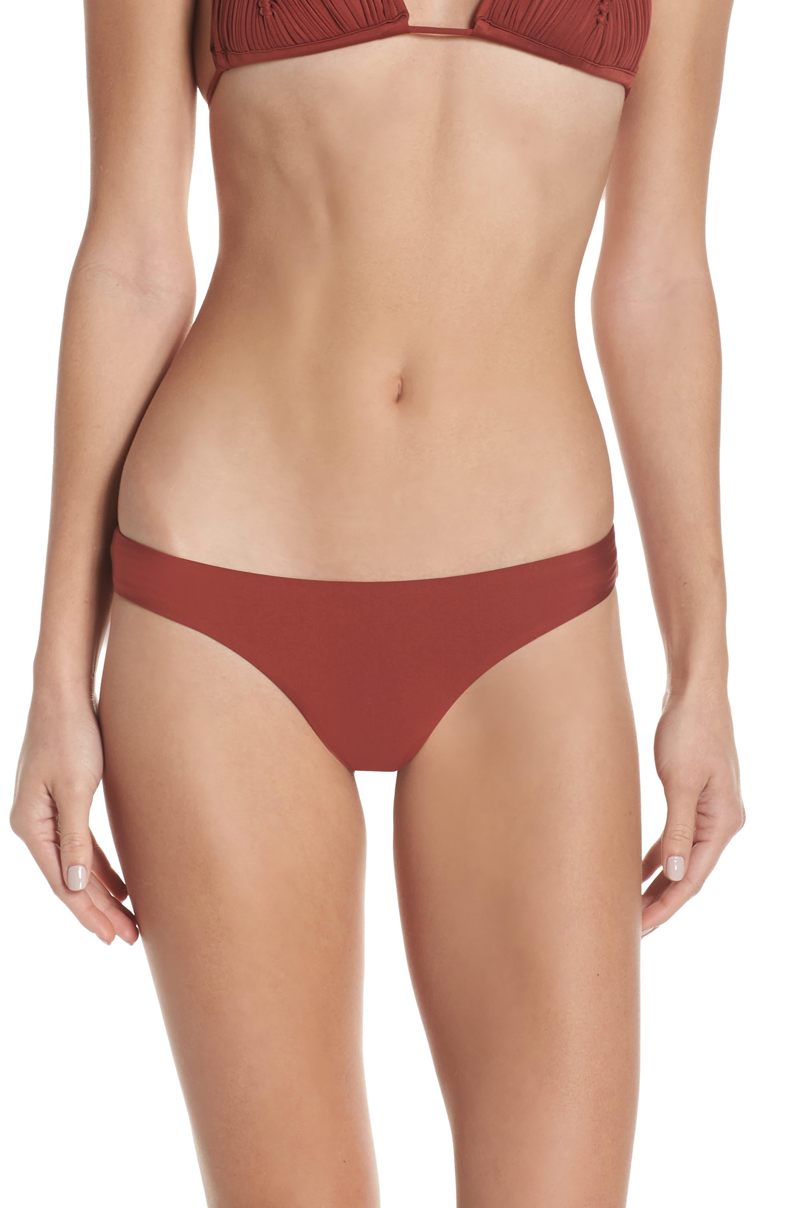 Pilyq Ruched Bikini Bottoms, Orange