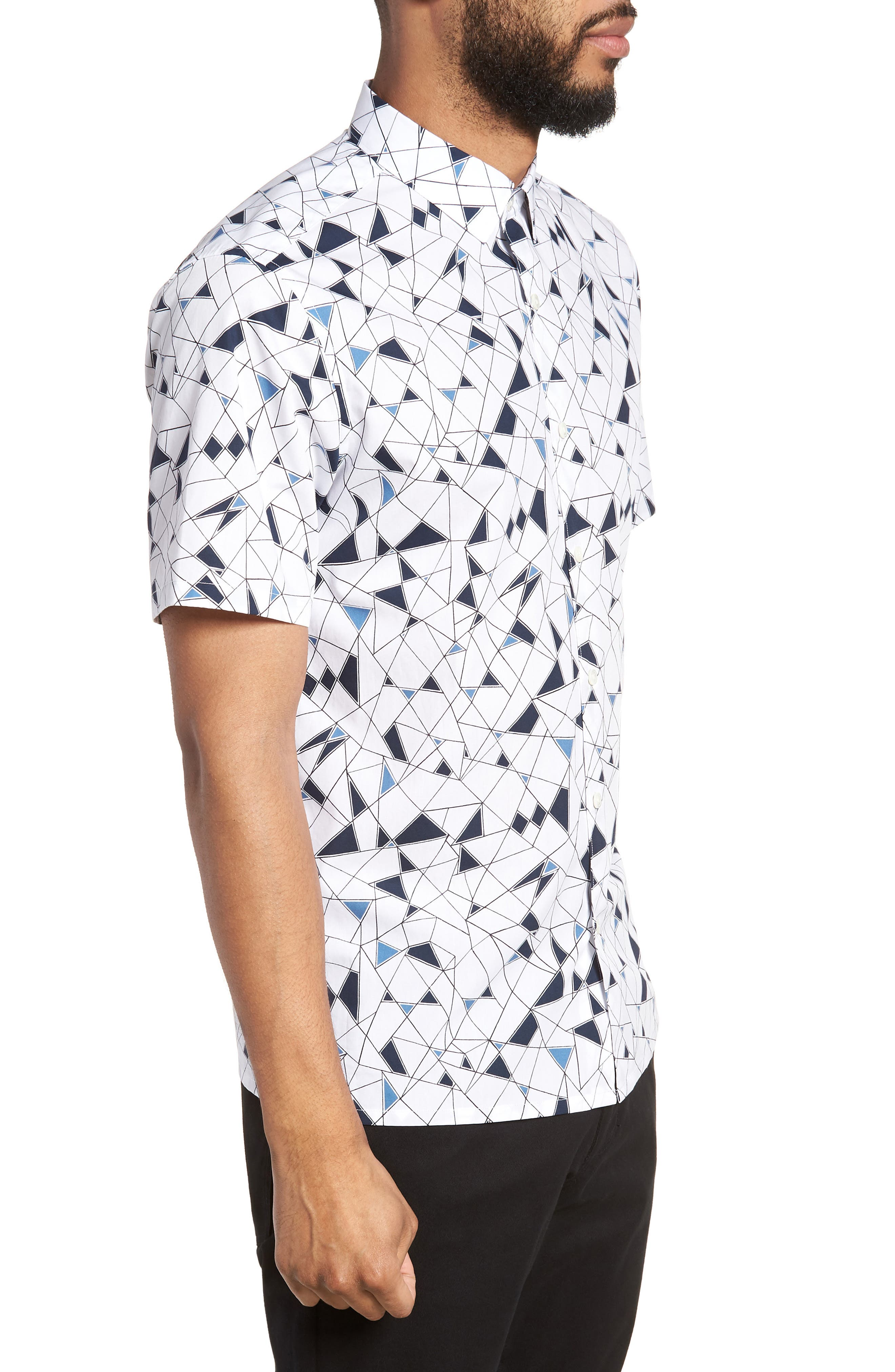 Murrary Trim Fit Geometric Short Sleeve Sport Shirt,                             Alternate thumbnail 3, color,                             424