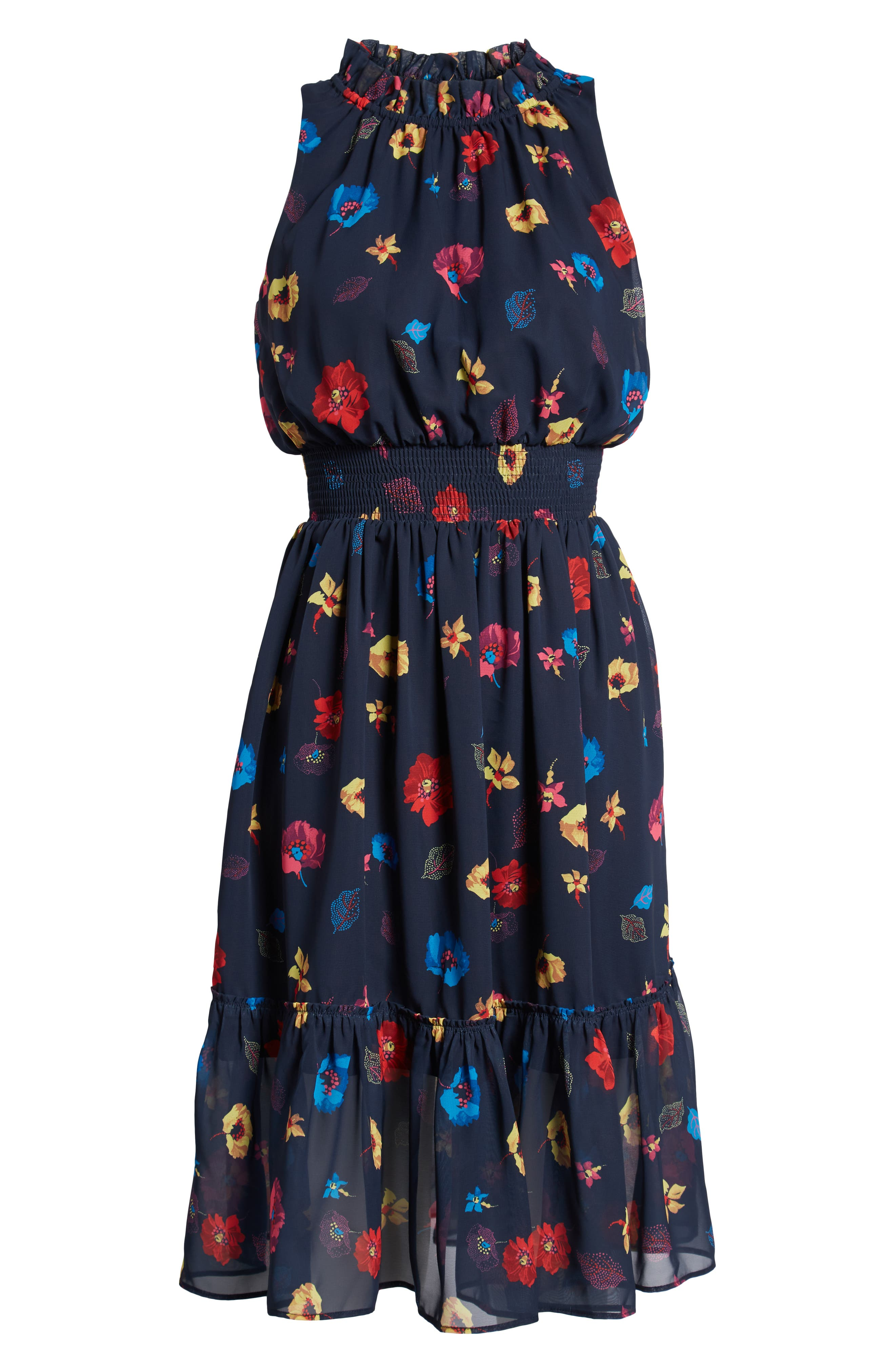 Floral Chiffon Fit & Flare Dress,                             Alternate thumbnail 7, color,                             NAVY POP FLOWER