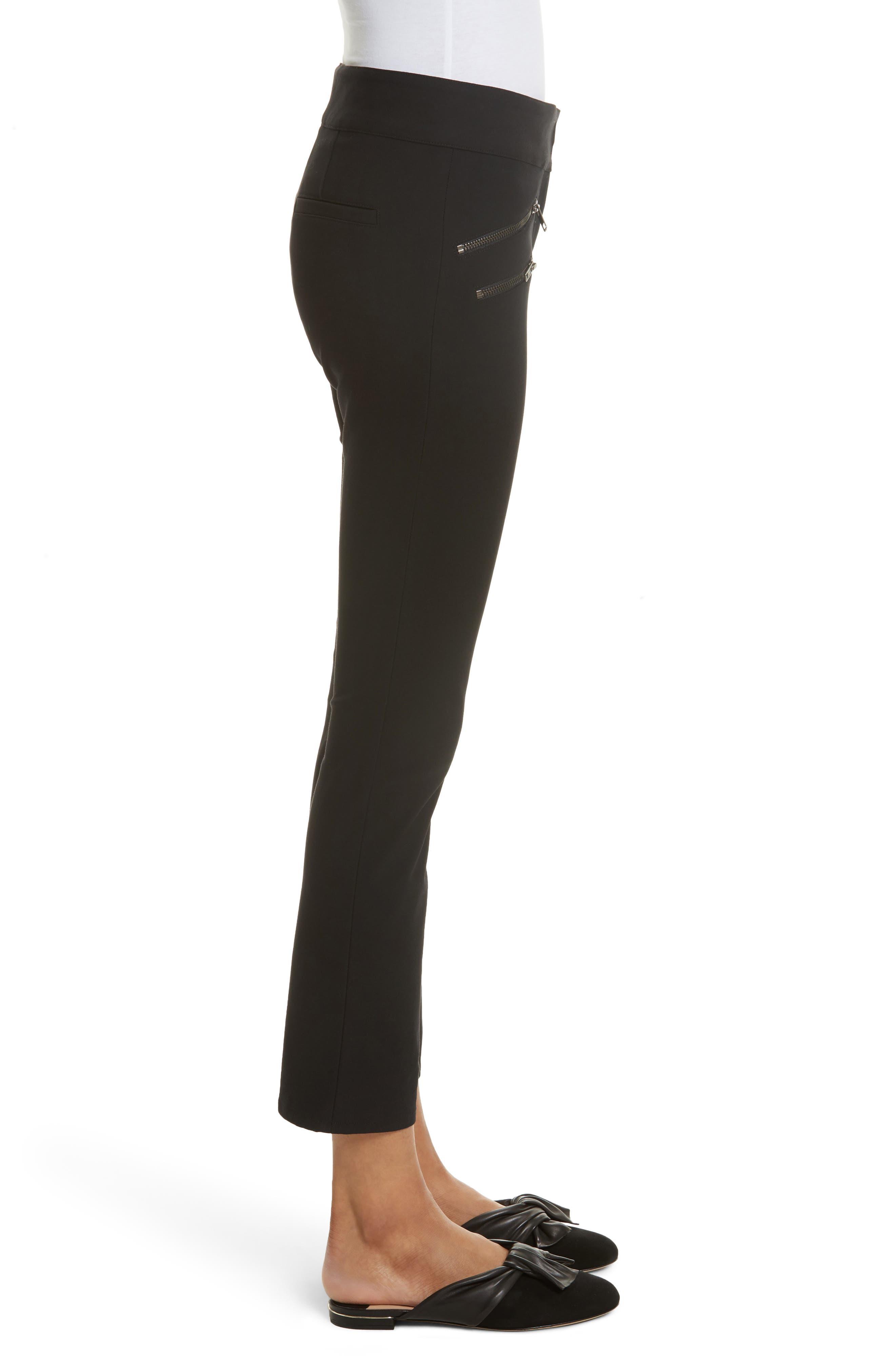 Adelaide Zipper Detail Crop Pants,                             Alternate thumbnail 3, color,                             001