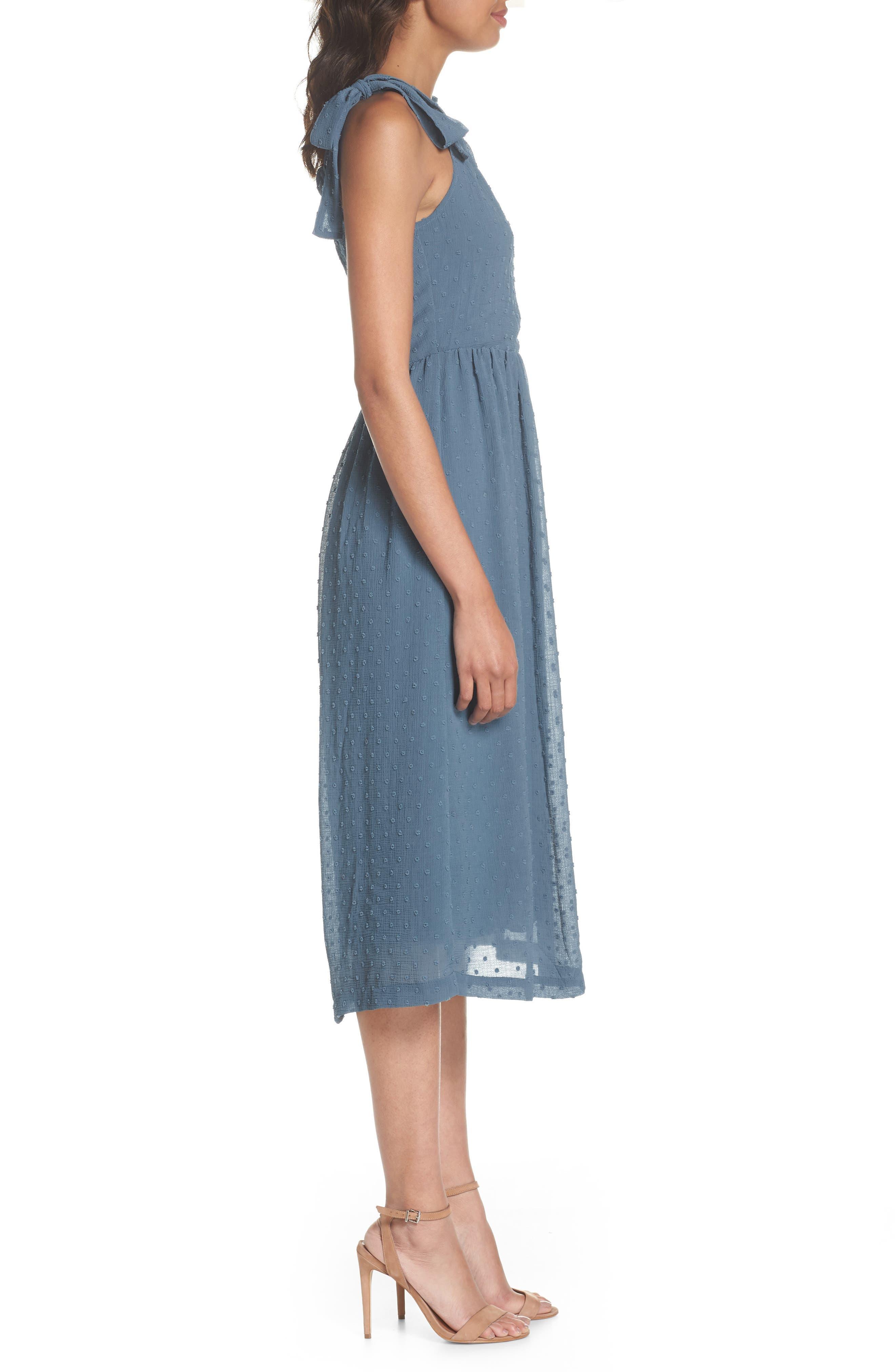 Tie Shoulder Midi Dress,                             Alternate thumbnail 3, color,                             400