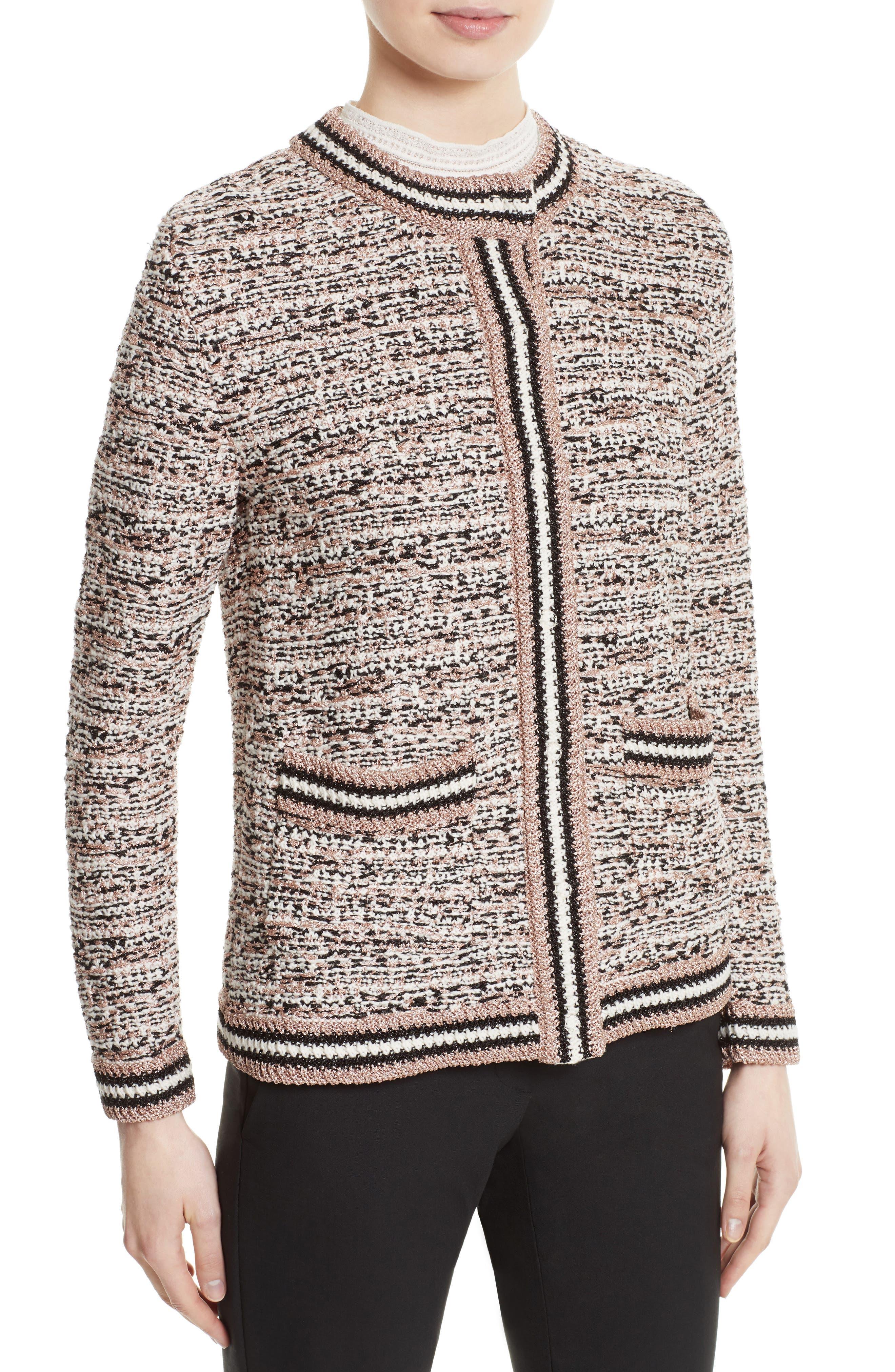 Metallic Tweed Jacket,                             Alternate thumbnail 4, color,                             650